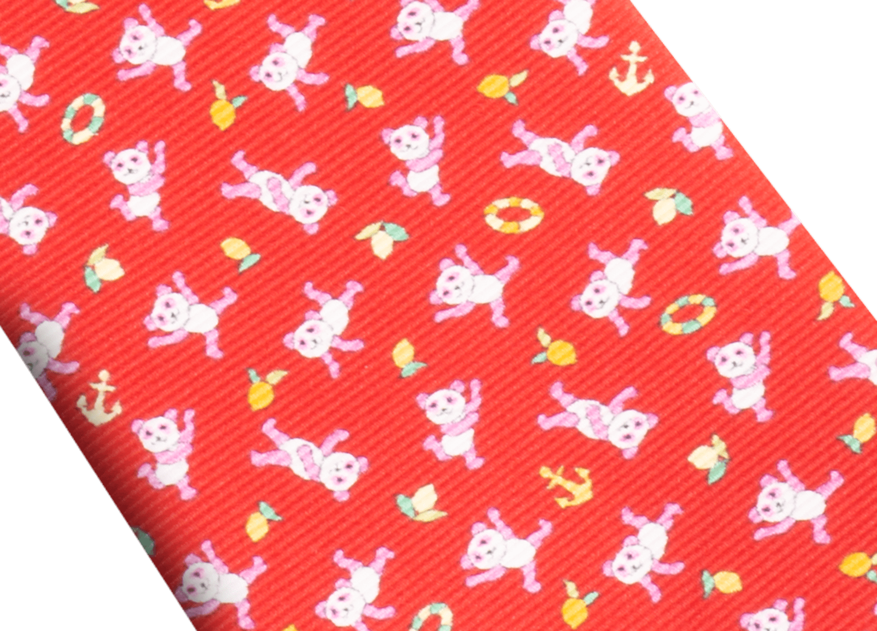 Cravatta sette pieghe rossa con motivo Lemon Panda in pregiata seta saglione stampata. 244170 image 2