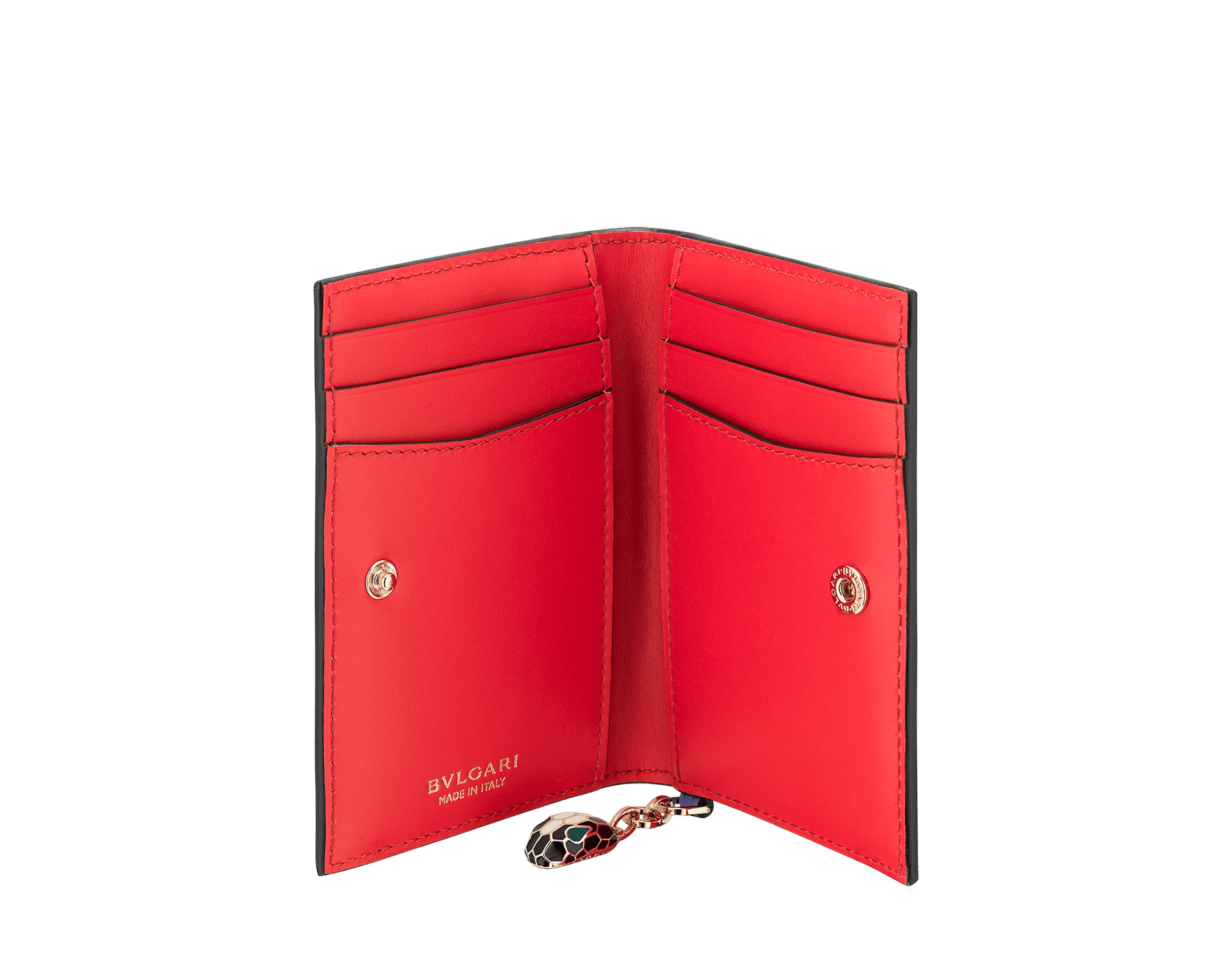 """Serpenti Forever"" folded card holder in Lavander Amethyst lilac and Reef Coral red calf leather. Iconic light gold plated brass snakehead charm, finished with black and white agate enamel, and emerald green enamel eyes. SEA-CC-HOLDER-FOLD-CLb image 2"