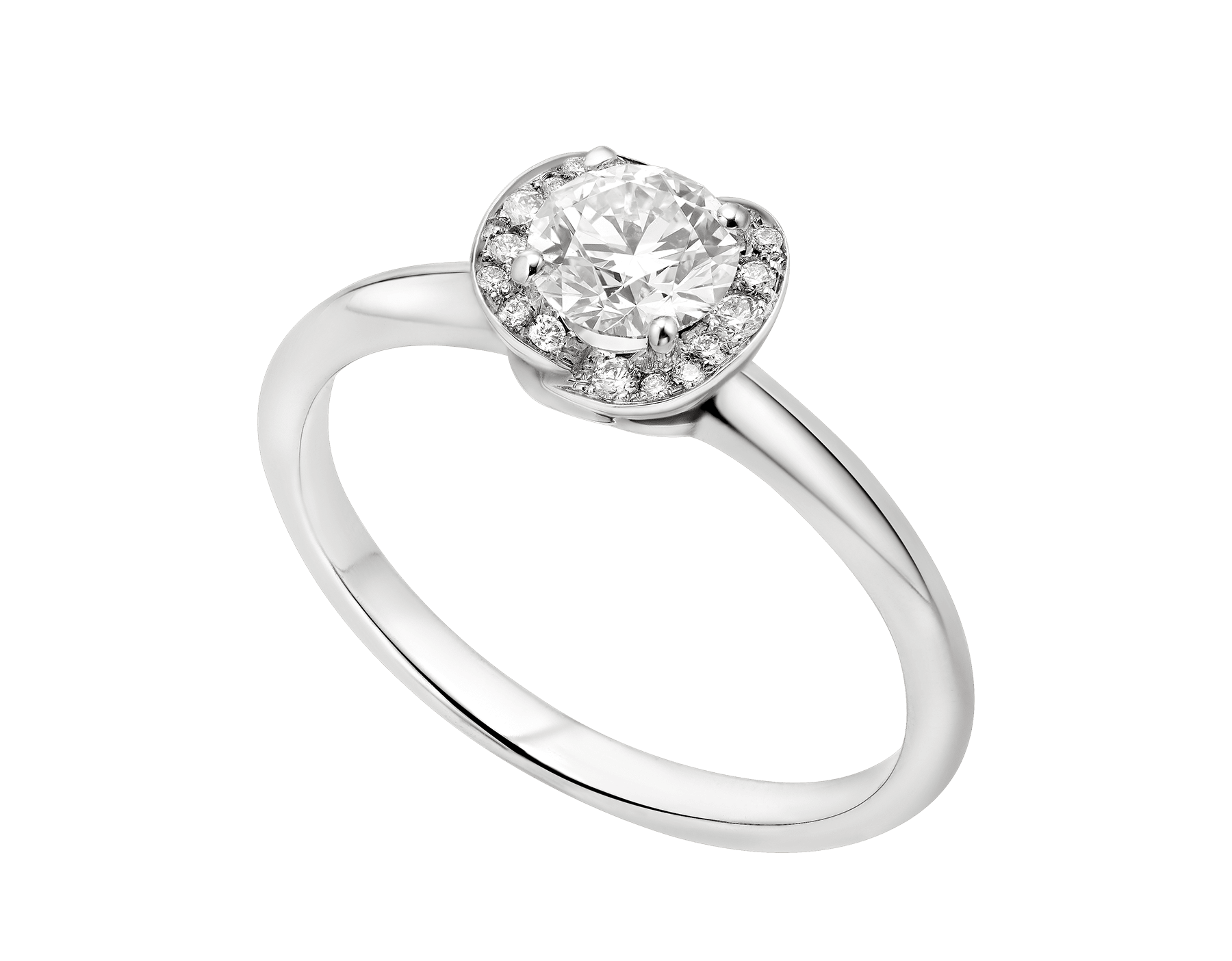Incontro d'Amore platinum ring set with a round brilliant-cut diamond and a halo of pavé diamonds. 355383 image 1