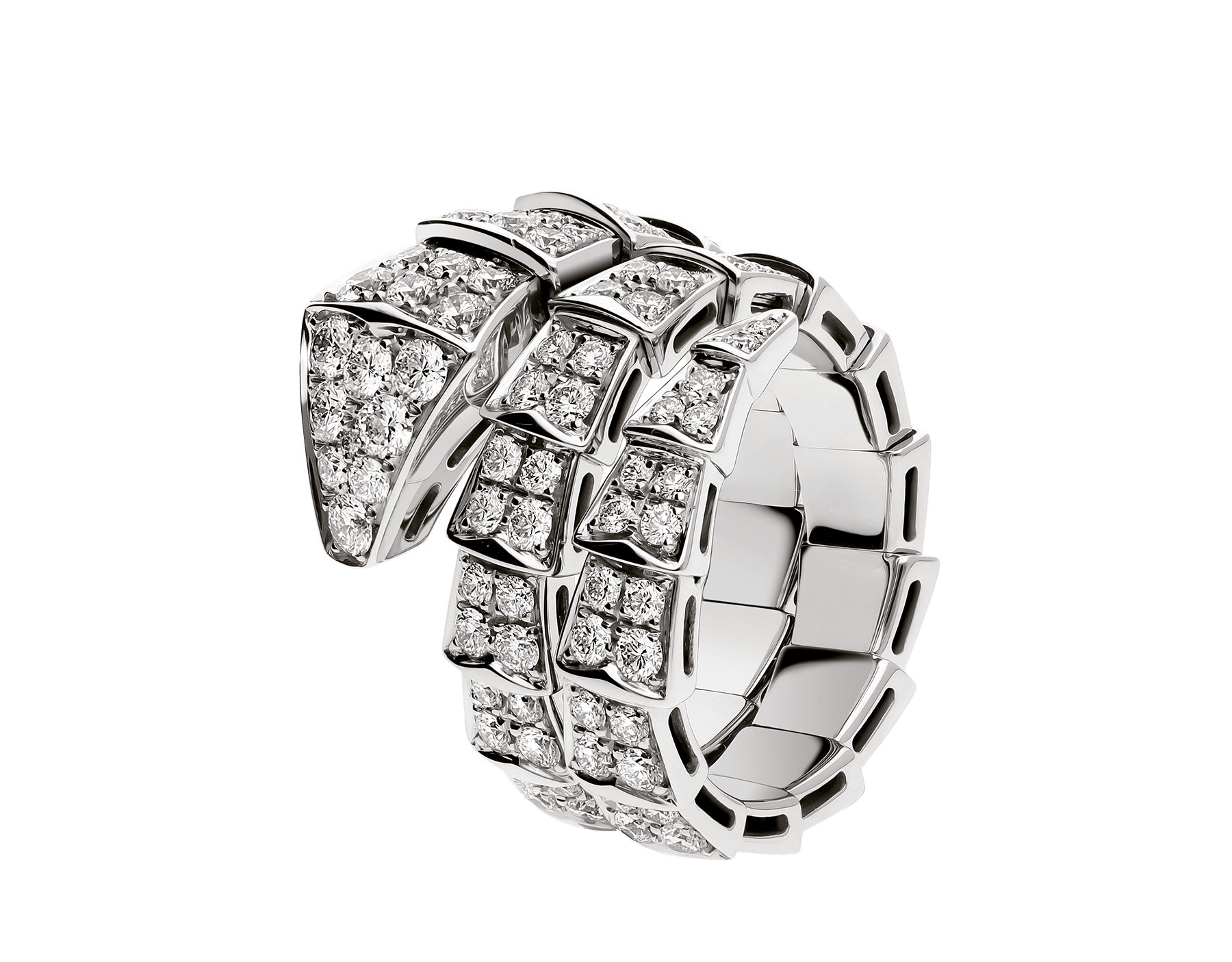 Serpenti Viper two-coil ring in 18 kt white gold, set with full pavé diamonds. AN855117 image 1