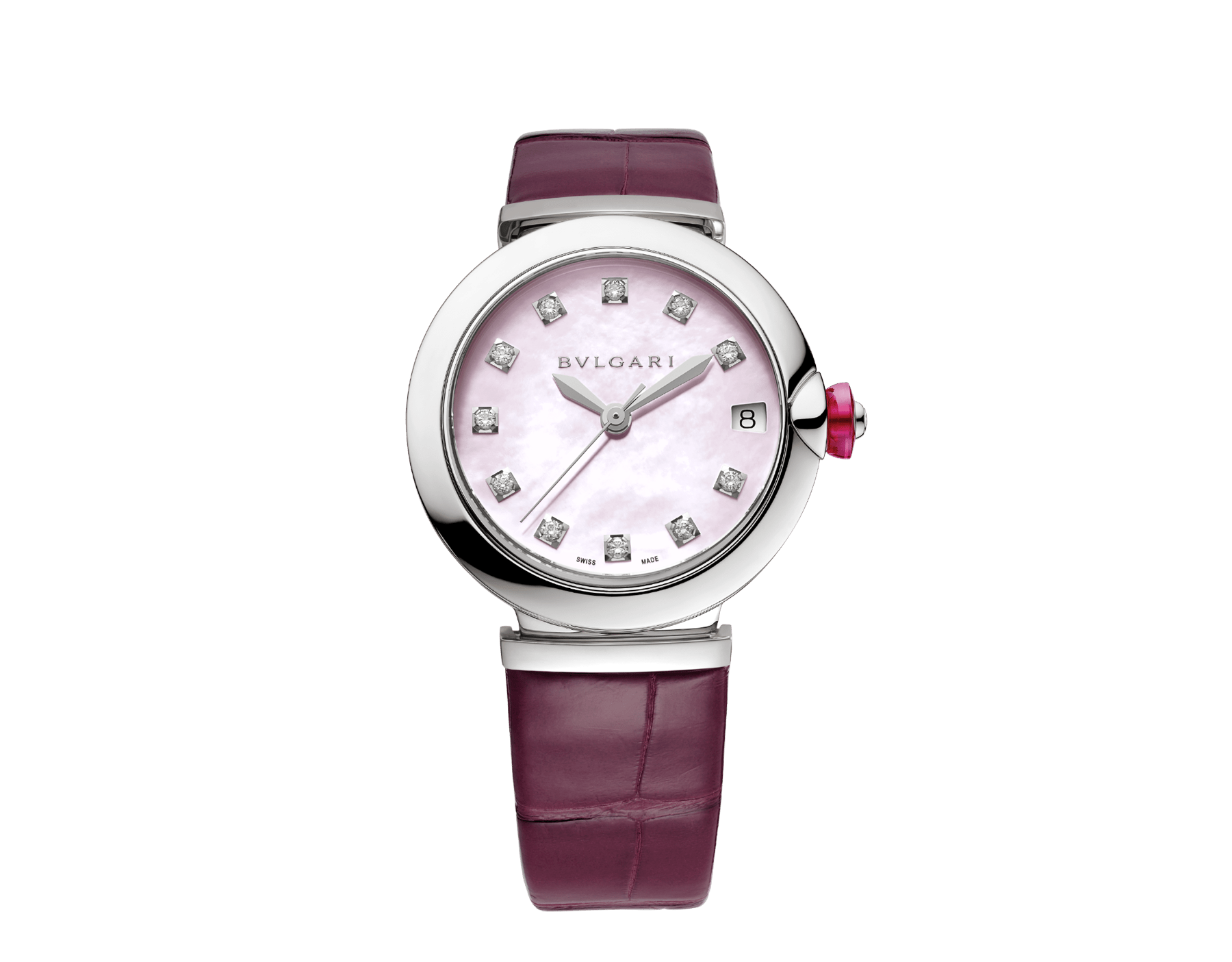 LVCEA watch with stainless steel case, pink mother-of-pearl dial, diamond indexes and burgundy alligator bracelet. 102609 image 1