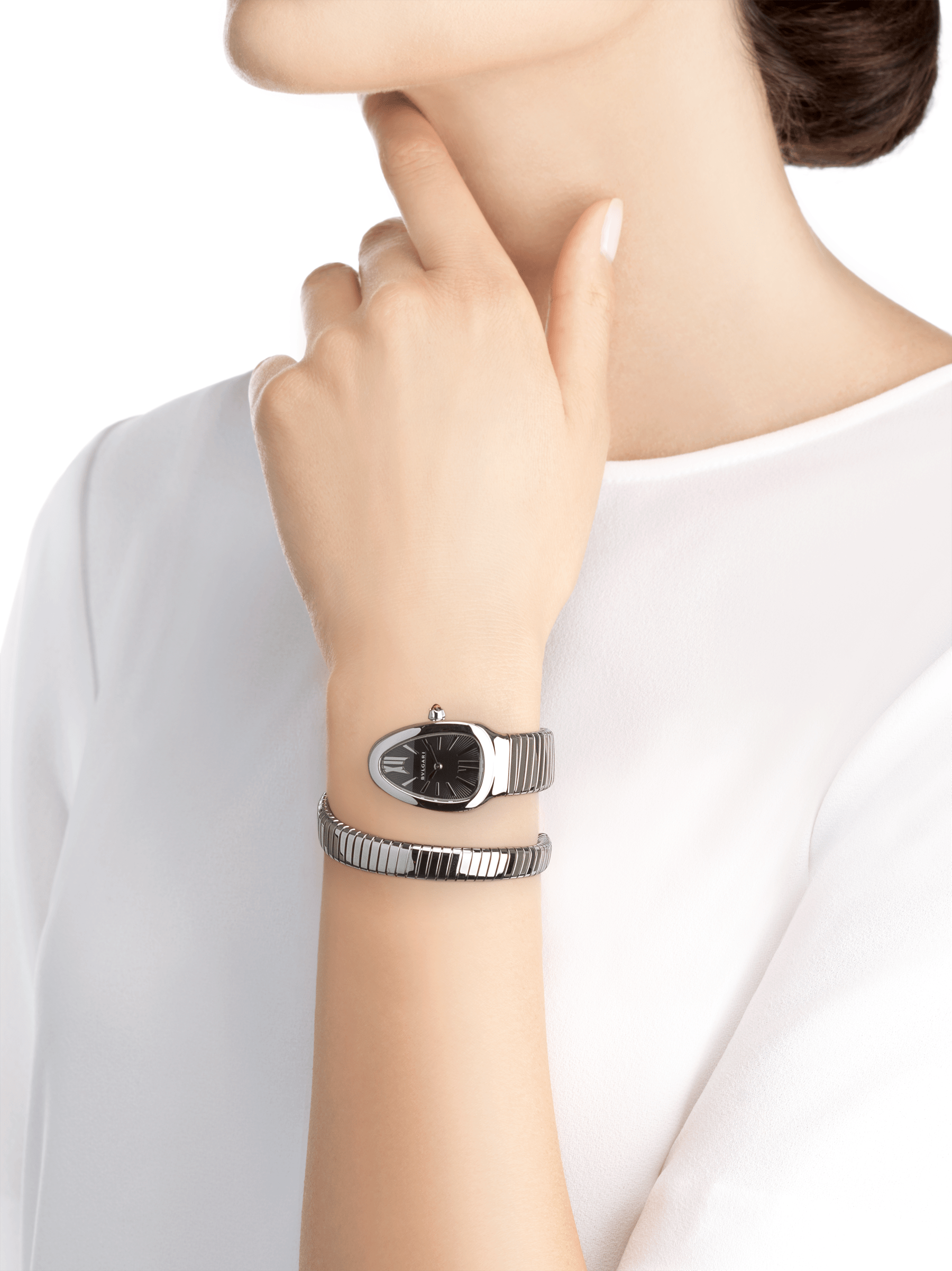Serpenti Tubogas single spiral watch in stainless steel case and bracelet, with black opaline dial. SrpntTubogas-black-dial2 image 4