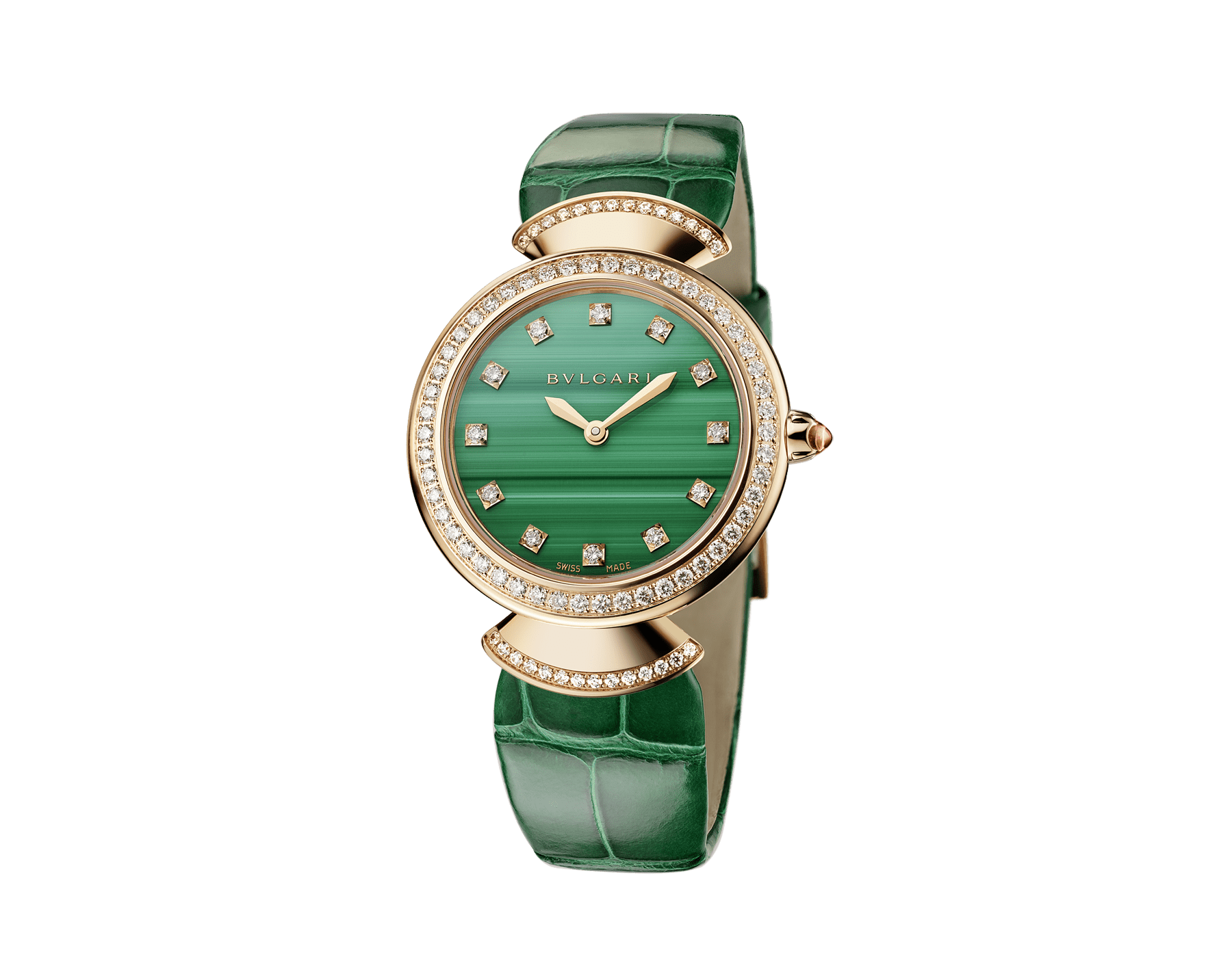 DIVAS' DREAM watch with 18 kt rose gold case, 18 kt rose gold bezel and fan-shaped links both set with brilliant-cut diamonds, malachite dial, diamond indexes and green alligator strap 103119 image 2