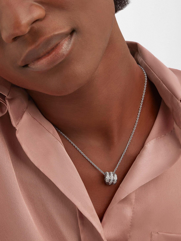 Serpenti Viper pendant necklace in 18 kt white gold set with pavé diamonds 357796 image 1