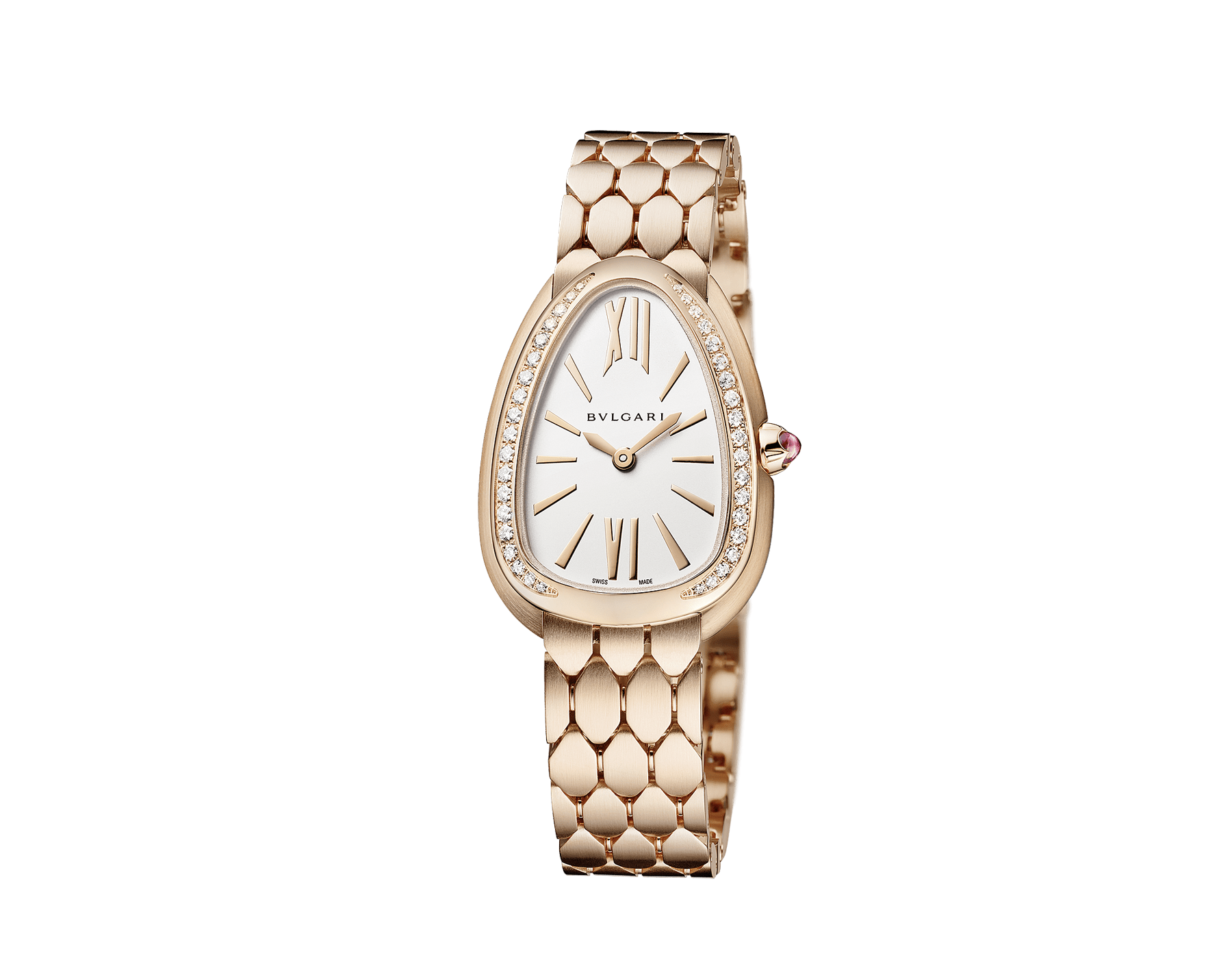 Serpenti Seduttori watch with 18 kt rose gold case, 18 kt rose gold bezel set with diamonds, white silver opaline dial and brushed 18 kt rose gold bracelet. 103169 image 2