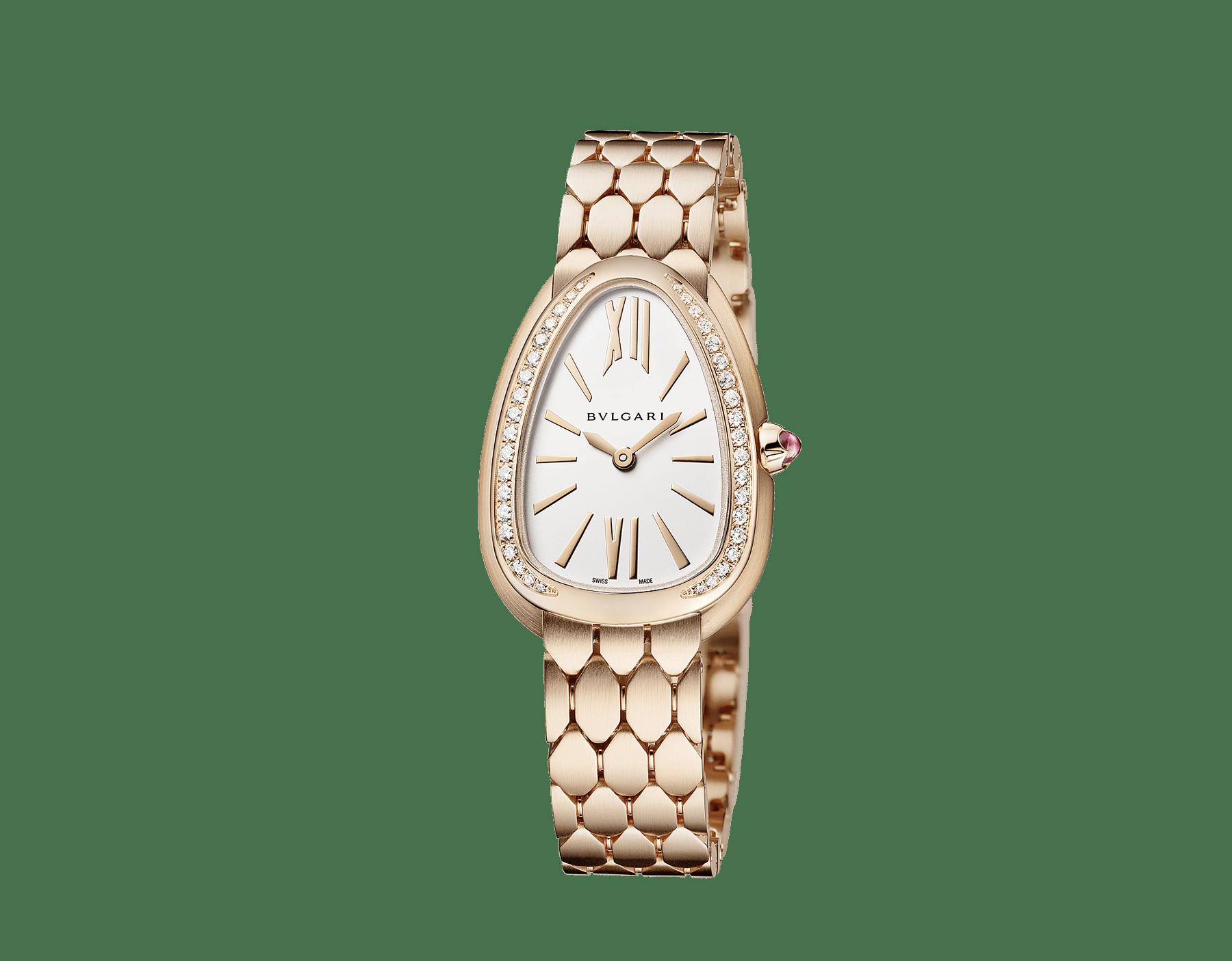 Serpenti Seduttori 腕錶,18K 玫瑰金錶殼和錶圈鑲飾鑽石,銀白色蛋白石錶盤,18K 玫瑰金髮絲紋錶帶。 103169 image 2