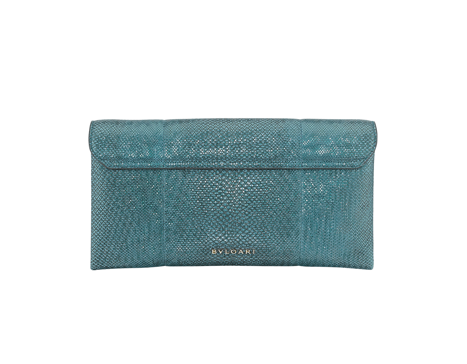 """Serpenti"" evening clutch in multicolor metallic karung skin, with black nappa leather internal lining. Tempting snakehead stud closure in light pink gold plated brass enriched with black and glitter ultra pink gold enamel and black onyx eyes. 526-001-0817S-MK image 3"