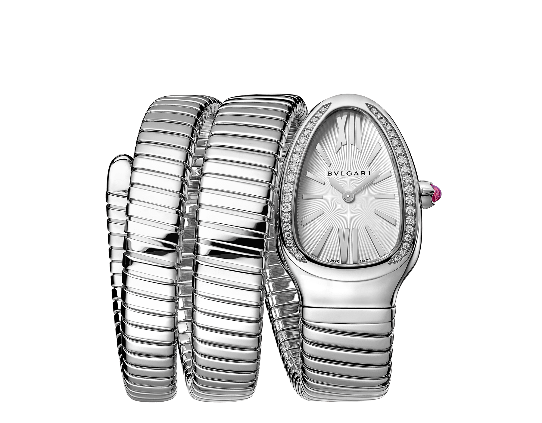 Serpenti Tubogas double spiral watch in stainless steel case and bracelet, bezel set with brilliant cut diamonds and silver opaline dial. 101910 image 1