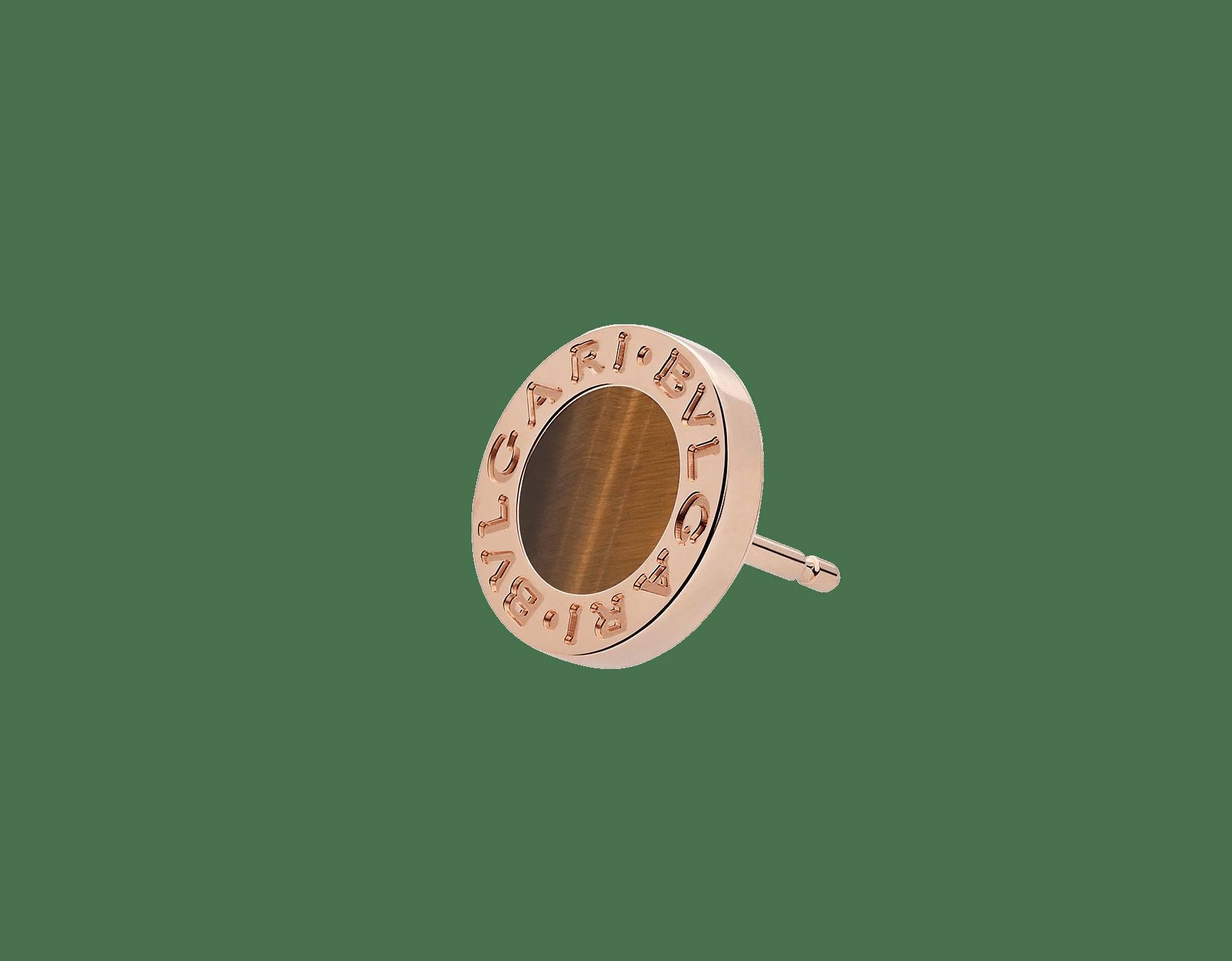 Boucle d'oreille unitaire BVLGARI BVLGARI en or rose 18K sertie d'un élément en œil-de-tigre 356364 image 2