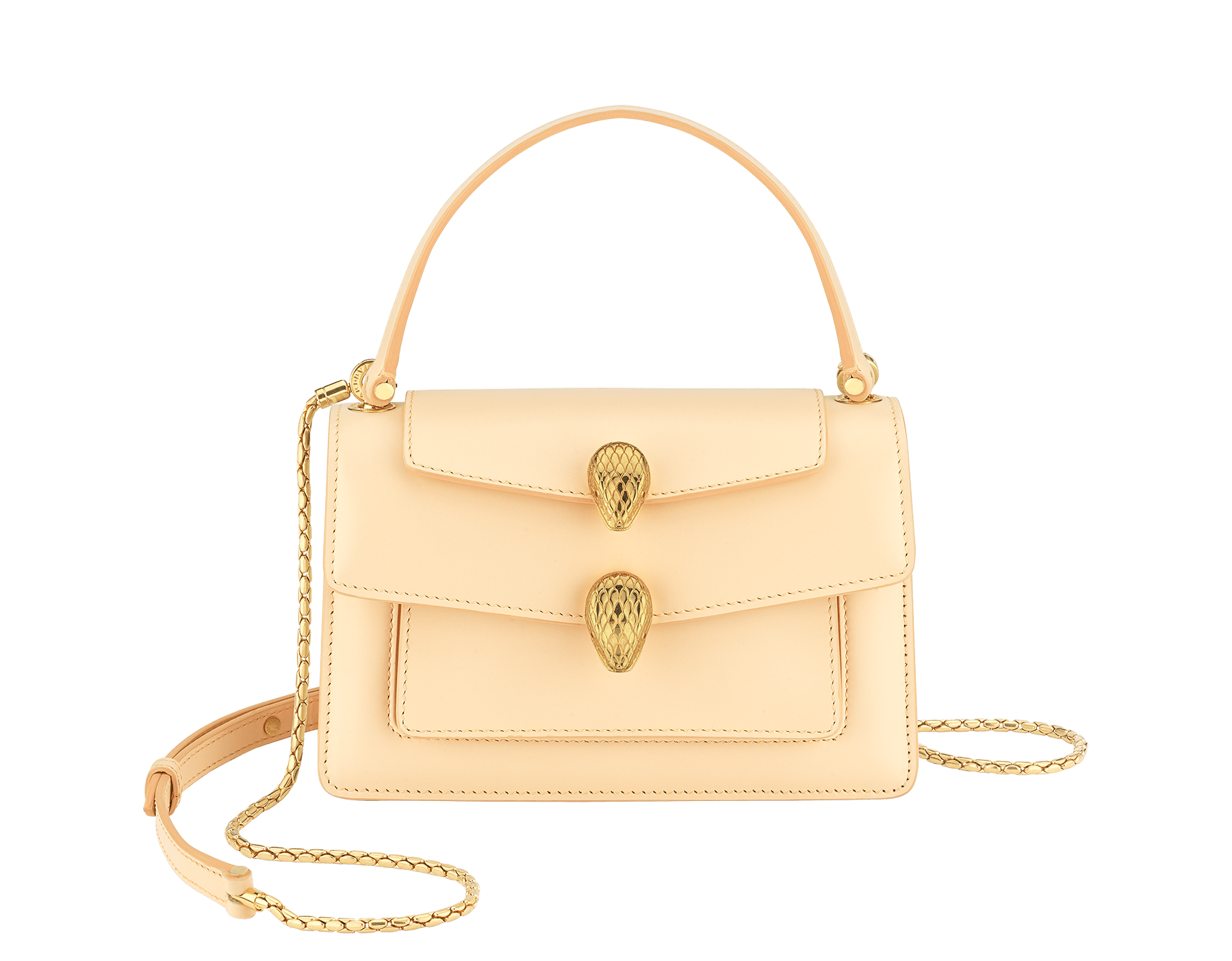 """Alexander Wang x Bvlgari"" belt bag in smooth peach calf leather. New double Serpenti head closure in antique gold-plated brass with tempting red enamel eyes. SFW-001-1029S image 1"