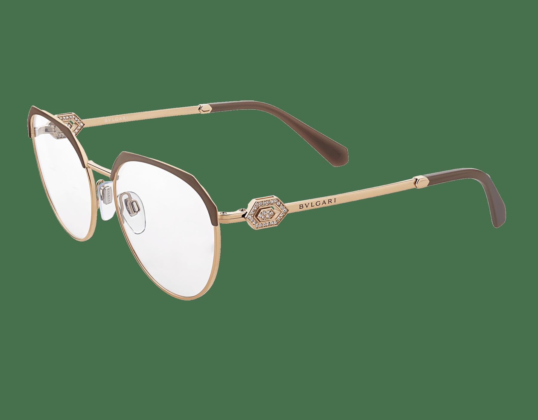 Eckige Bvlgari Serpenti Korrekturbrille aus Metall mit durchbrochener Serpenti Metallverzierung und Kristallen. 903944 image 1