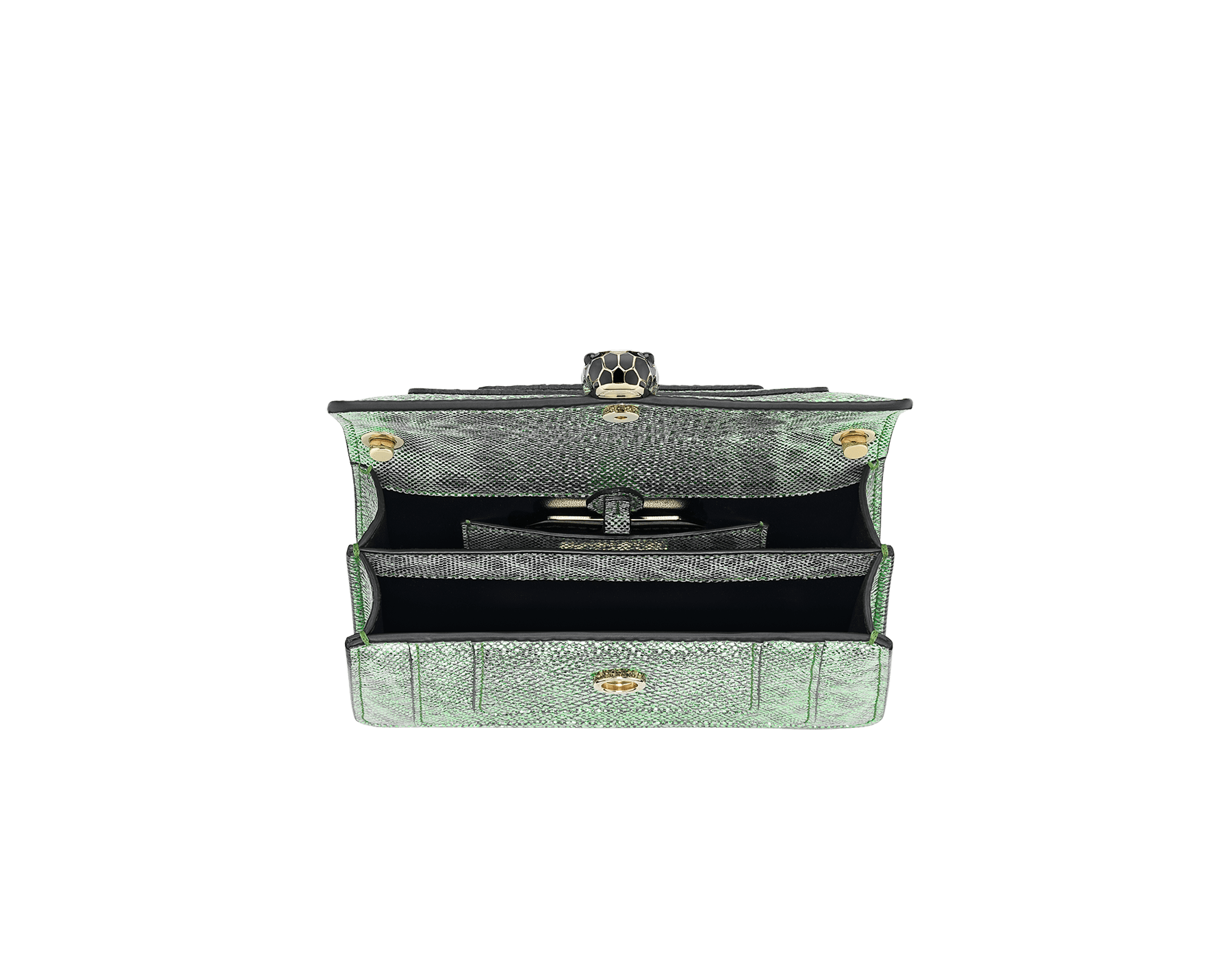 """Serpenti Forever"" crossbody micro bag in mint metallic karung skin. Brass light gold plated snakehead closure in black and white agate enamel, with black onyx eyes. 290005 image 4"