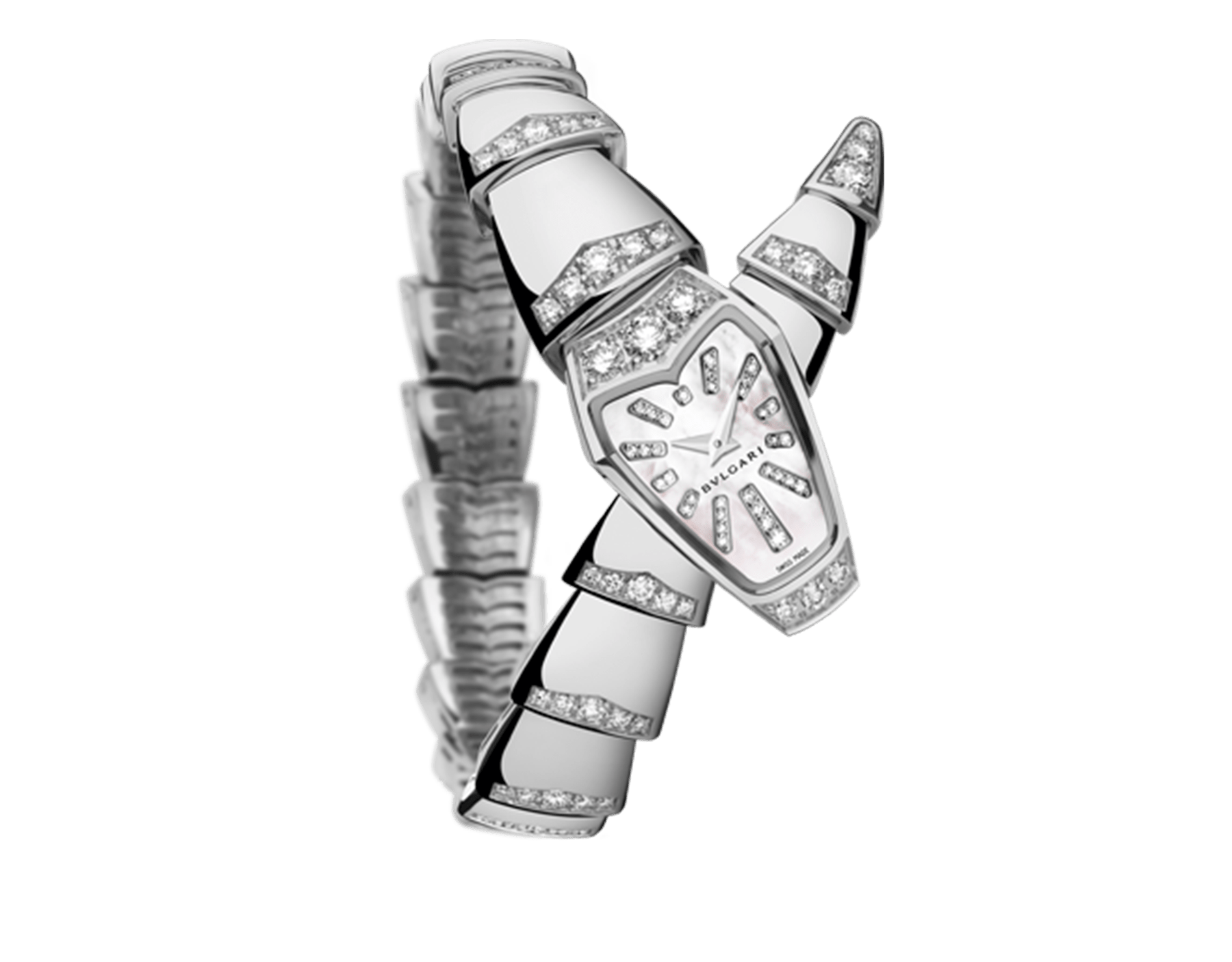 Serpenti Jewellery Watch in 18 kt white gold case and single spiral bracelet, both set with brilliant cut diamonds, white mother-of-pearl dial and diamond indexes. 102366 image 1