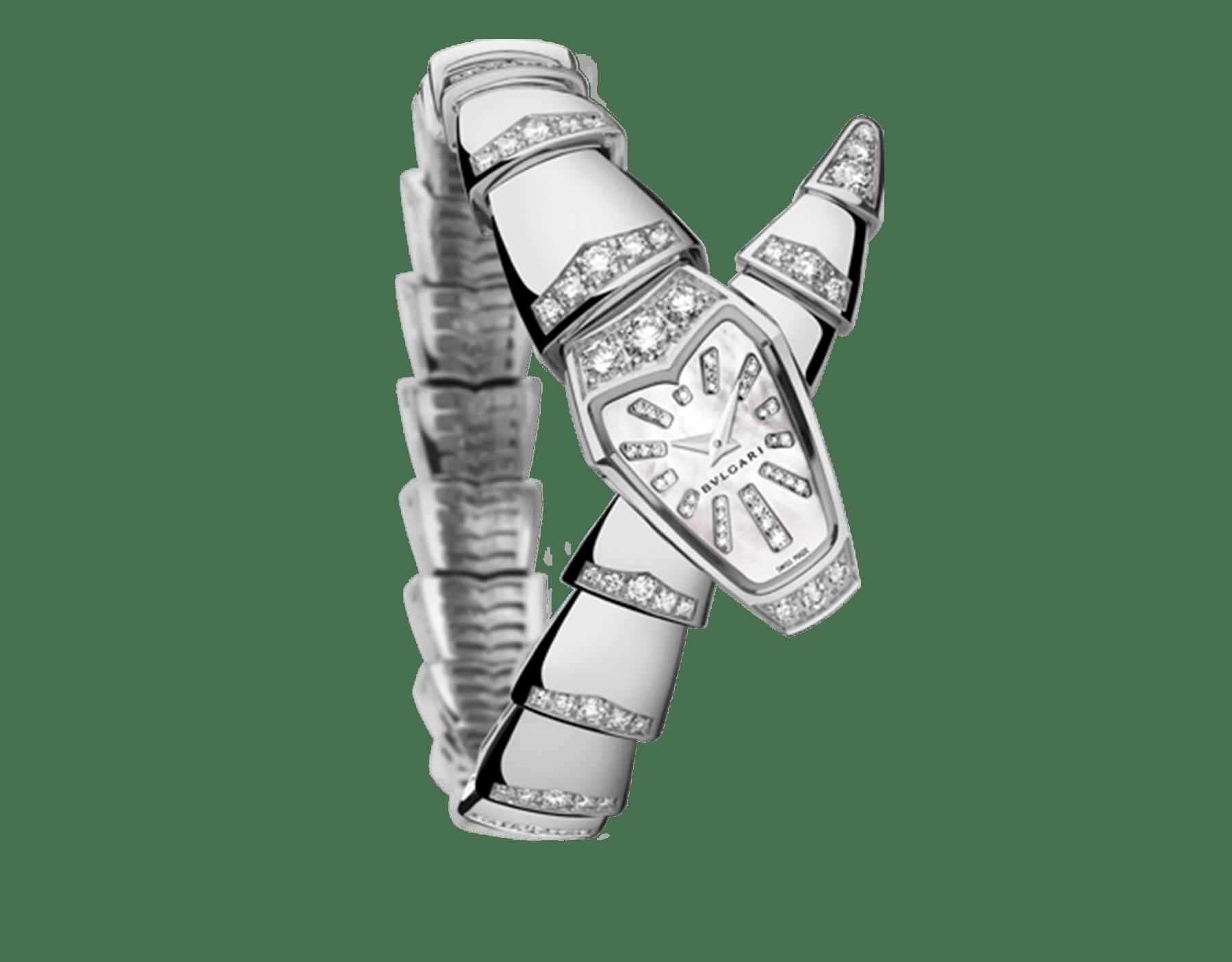Serpenti Schmuckuhr mit Gehäuse aus 18Karat Weißgold und einfach geschwungenem Armband, beide mit Diamanten im Brillantschliff besetzt, weißes Perlmuttzifferblatt und Diamantindizes. 102366 image 1