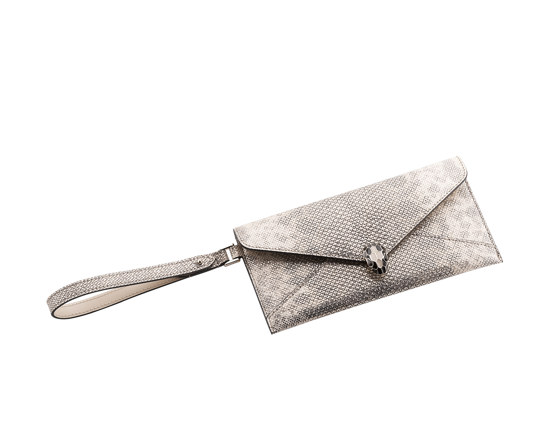 Serpenti Forever envelope case in milky opal metallic karung skin and milky opal calf leather. Iconic snakehead stud closure in black and glitter milky opal enamel, with black onyx eyes. SEA-ENVELOPE-MK image 1