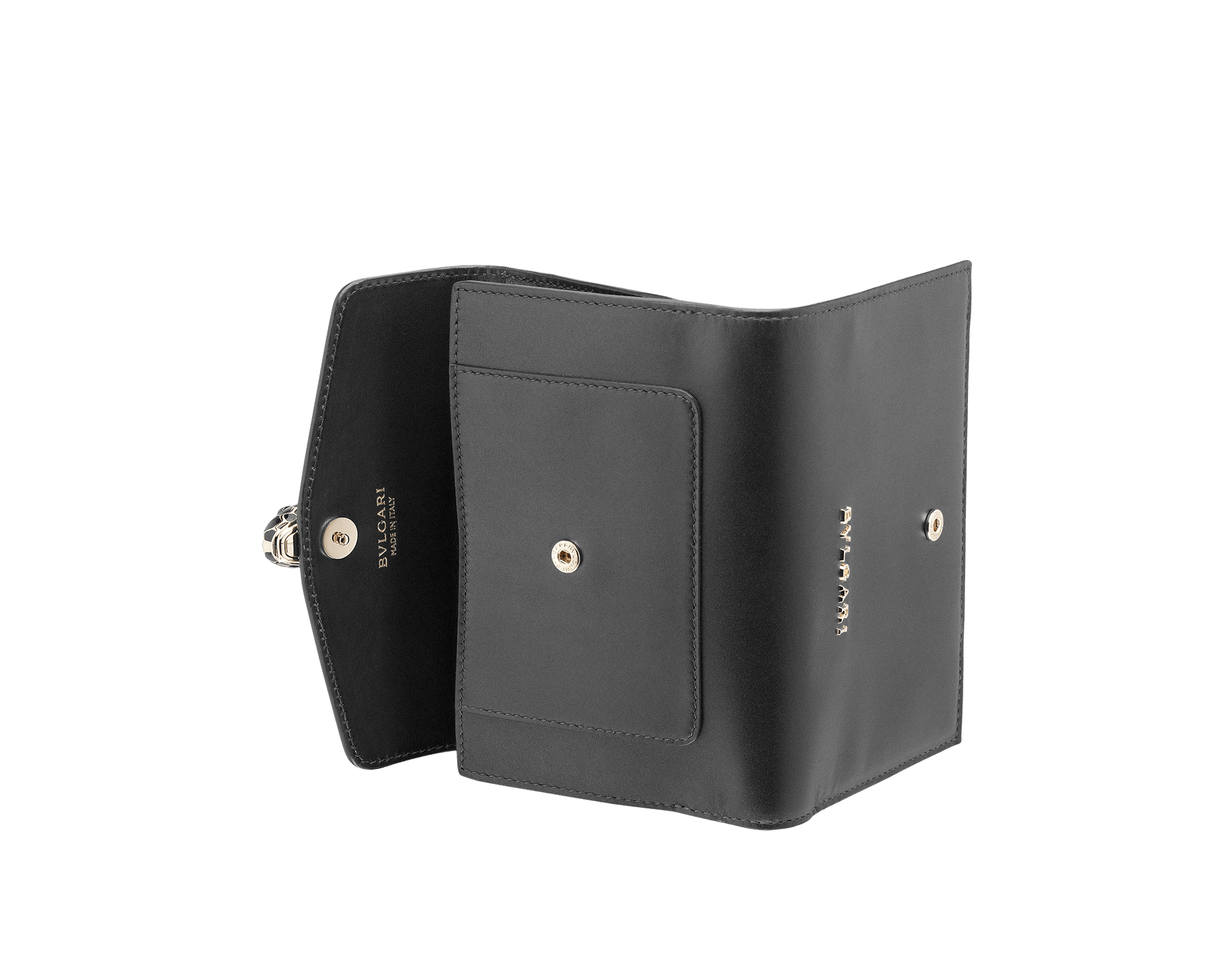 Compact pochette in black calf leather, emerald green calf leather and malachite nappa lining. Brass light gold plated Serpenti head stud closure with green malachite eyes. 282664 image 3