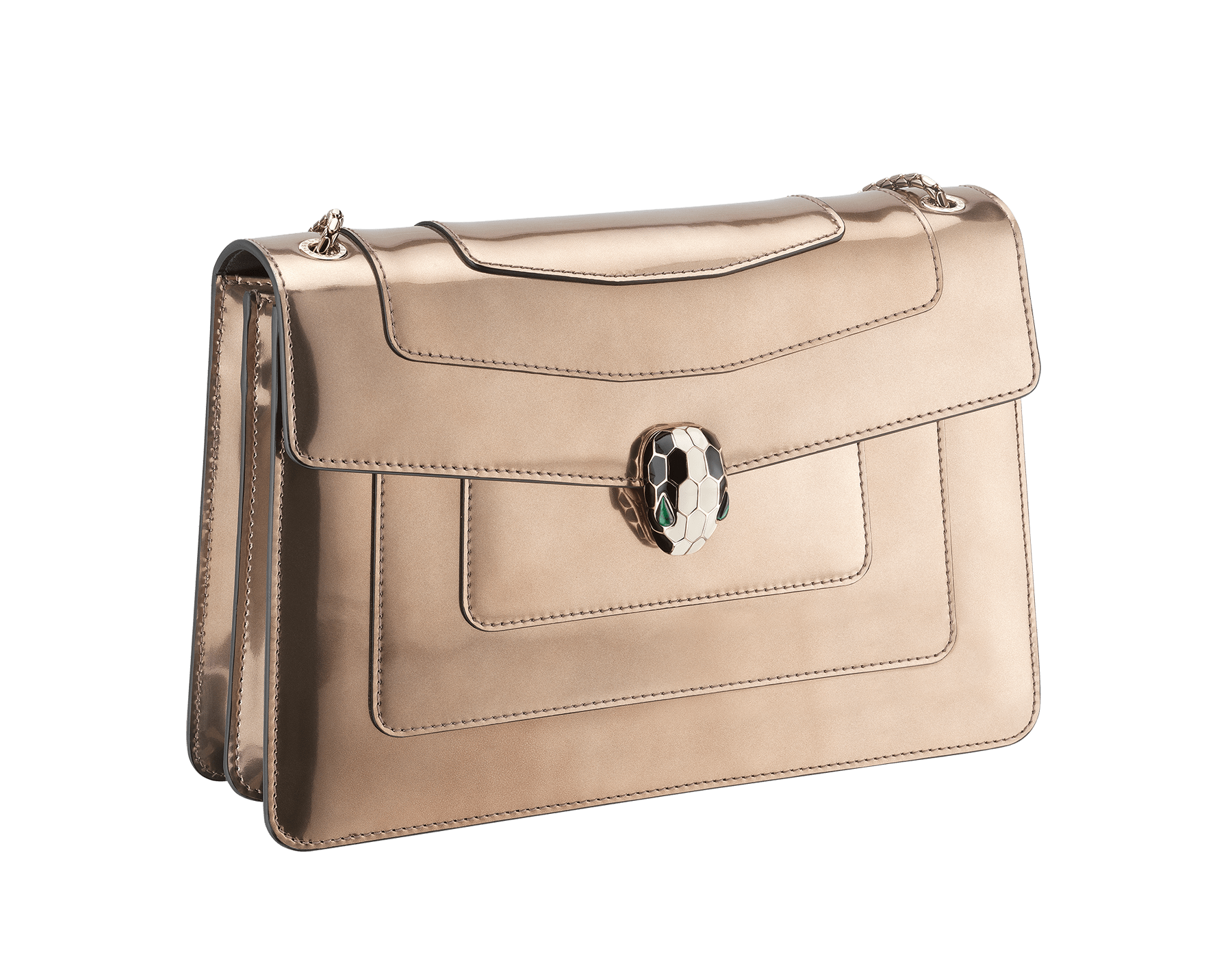 Flap cover bag Serpenti Forever in antique bronze brushed metallic calf leather with brass light gold plated Serpenti head closure in black and white enamel with eyes in green malachite. 39794 image 2