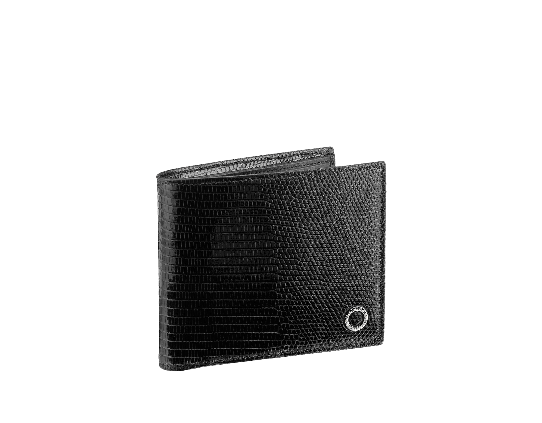 Wallet hipster for men in black shiny lizard skin and royal nappa lining. Brass palladium plated hardware featuring the BVLGARI BVLGARI motif. 285327 image 1