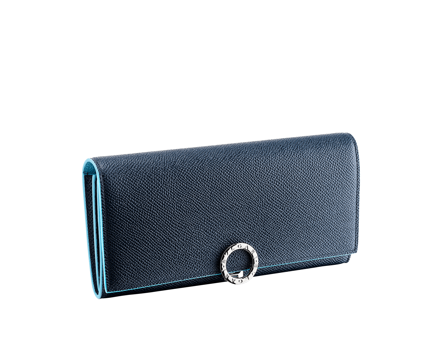 """Bvlgari Clip"" large wallet in Denim Sapphire blue and Aegean Topaz light blue grained calfskin. Iconic logo clip closure in palladium-plated brass 290672 image 1"