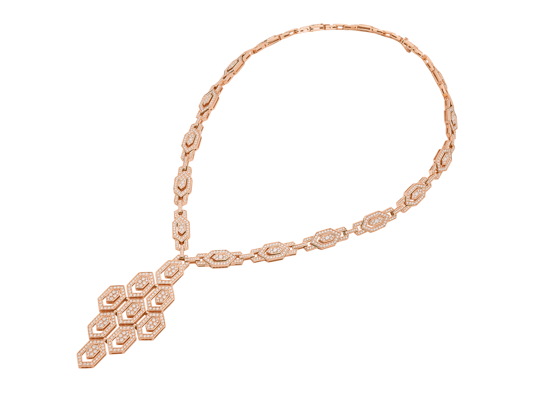 Serpenti 18 kt rose gold necklace set with pavé diamonds both on the chain and pendant. 356194 image 2