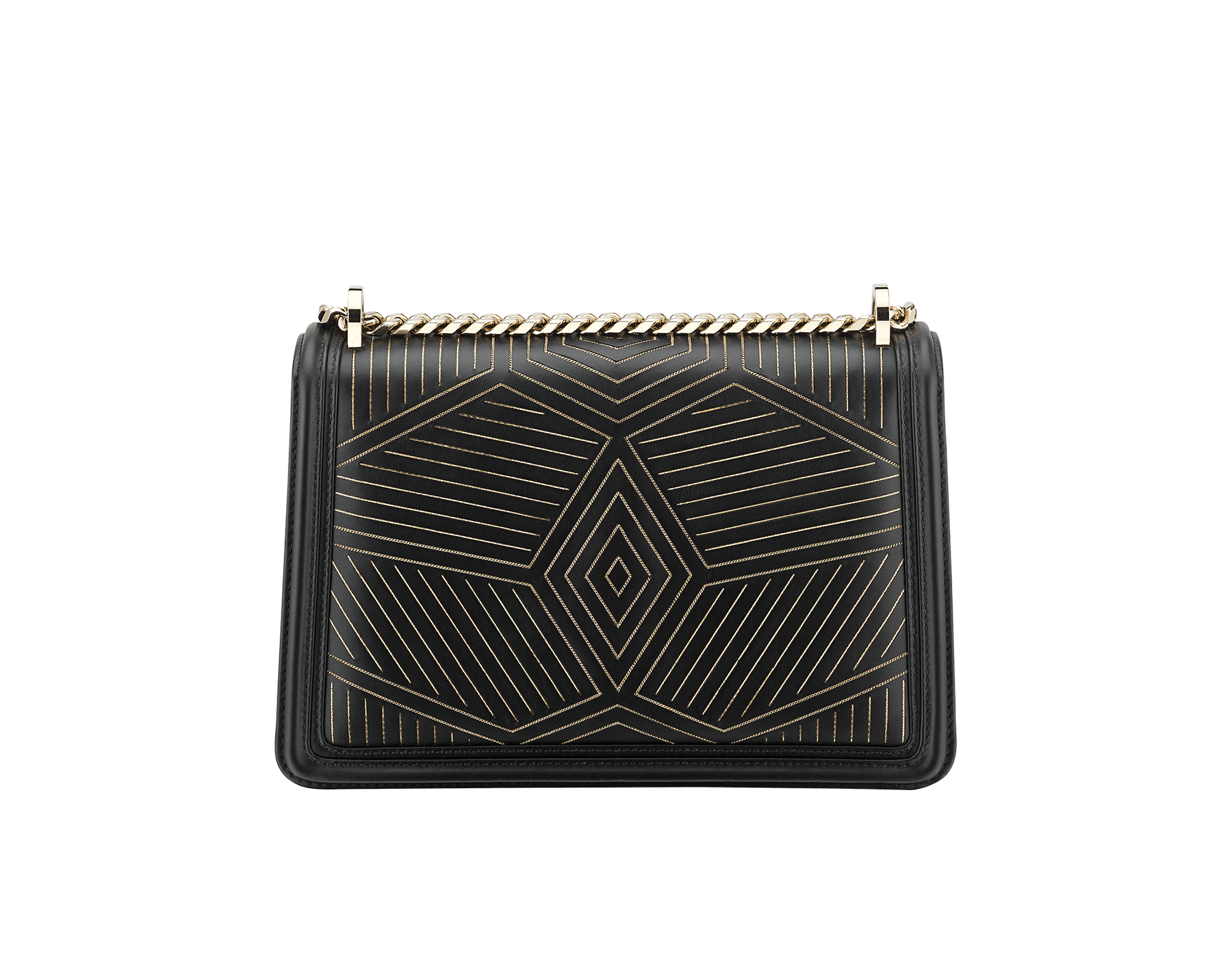 """Serpenti Diamond Blast"" shoulder bag in black smooth calf leather, featuring a Whispy Chain motif in light gold finishing. Iconic snake head closure in light gold plated brass enriched with black and white enamel and black onyx eyes. 288983 image 4"