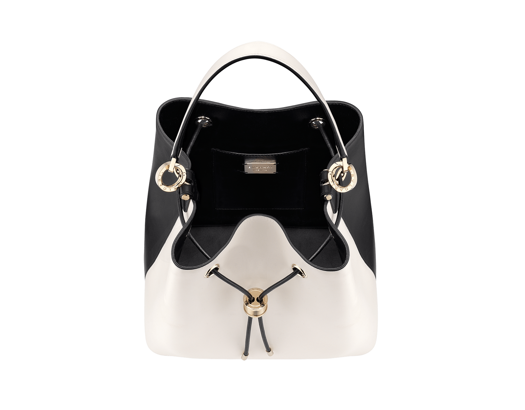 """""""B.zero1"""" bucket bag in black smooth calf leather and black nappa leather internal lining. Hardware in light gold plated brass, featuring a B.zero1 décor. 975-BCL image 4"""