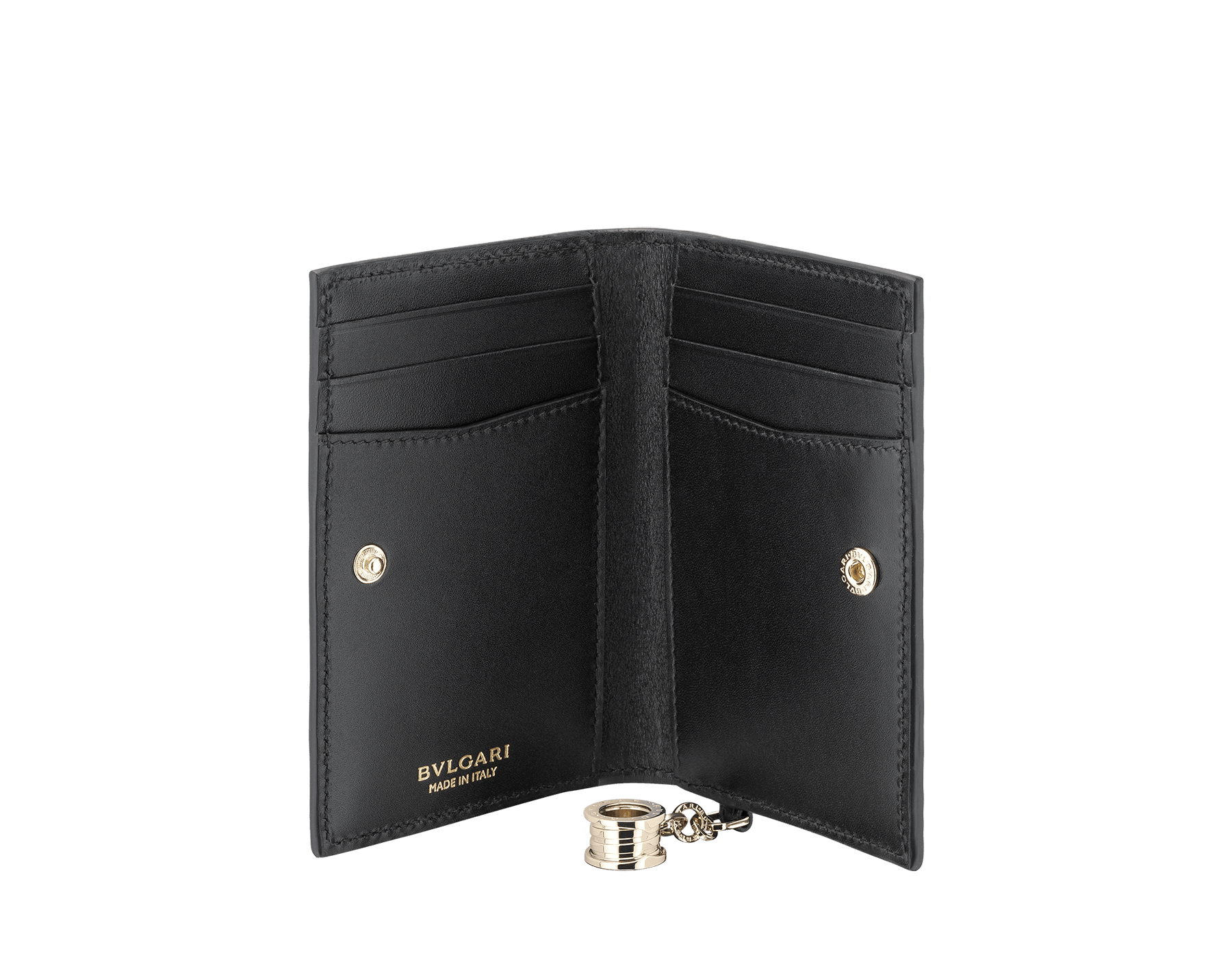 B.zero1 folded credit card holder in black and white goatskin. Iconic B.zero1 charm in light gold-plated brass. 288239 image 2