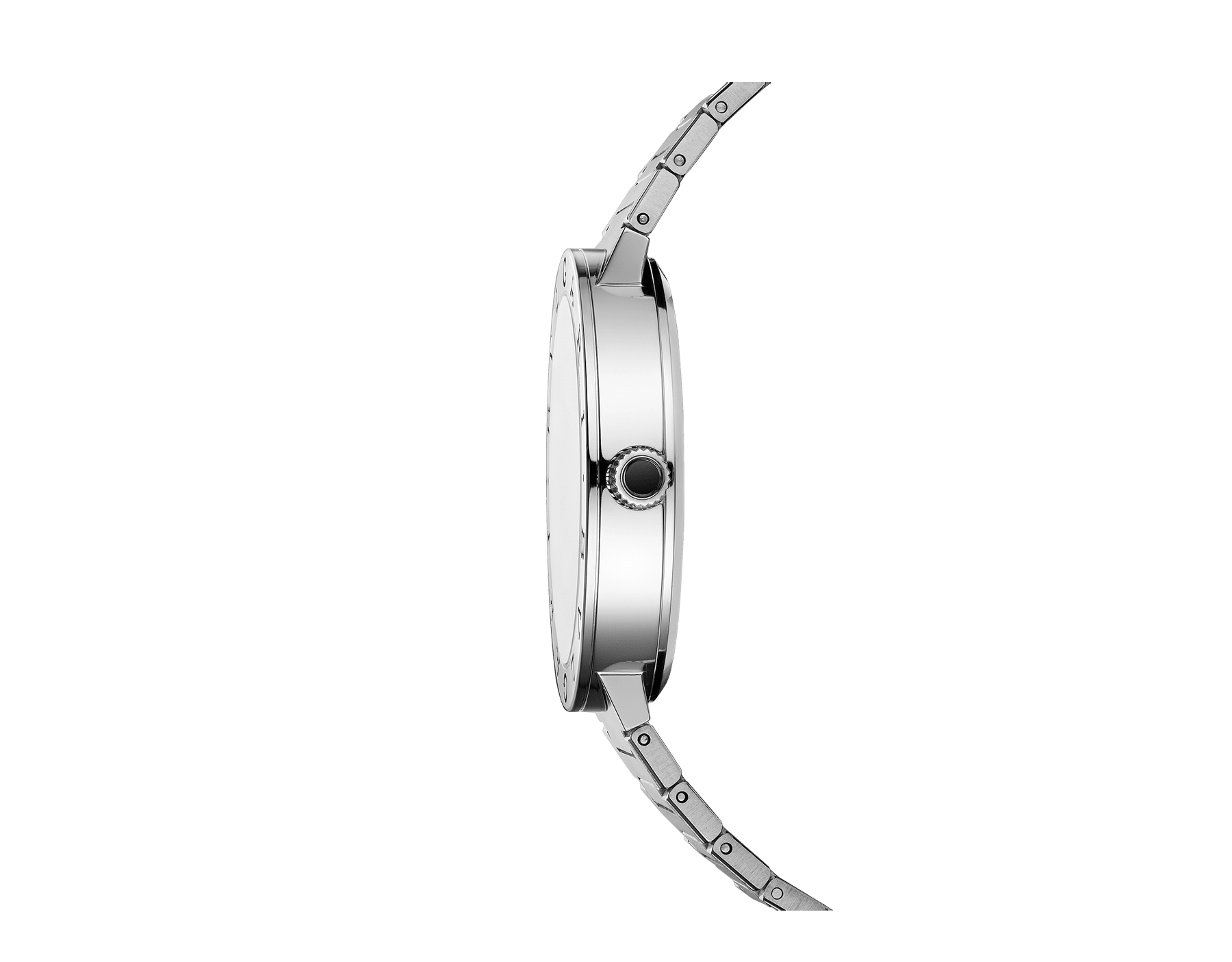 BVLGARI BVLGARI Solotempo watch with mechanical manufacture movement, automatic winding and date, stainless steel case and bracelet, stainless steel bezel engraved with double logo and black dial 102928 image 2