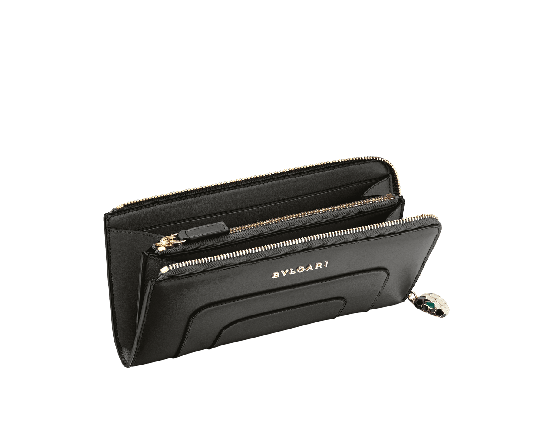 L-shaped zipped wallet in black calf leather with brass light gold plated hardware. Iconic black and white enamel Serpenti head zip puller with green enamel eyes. 36474 image 2