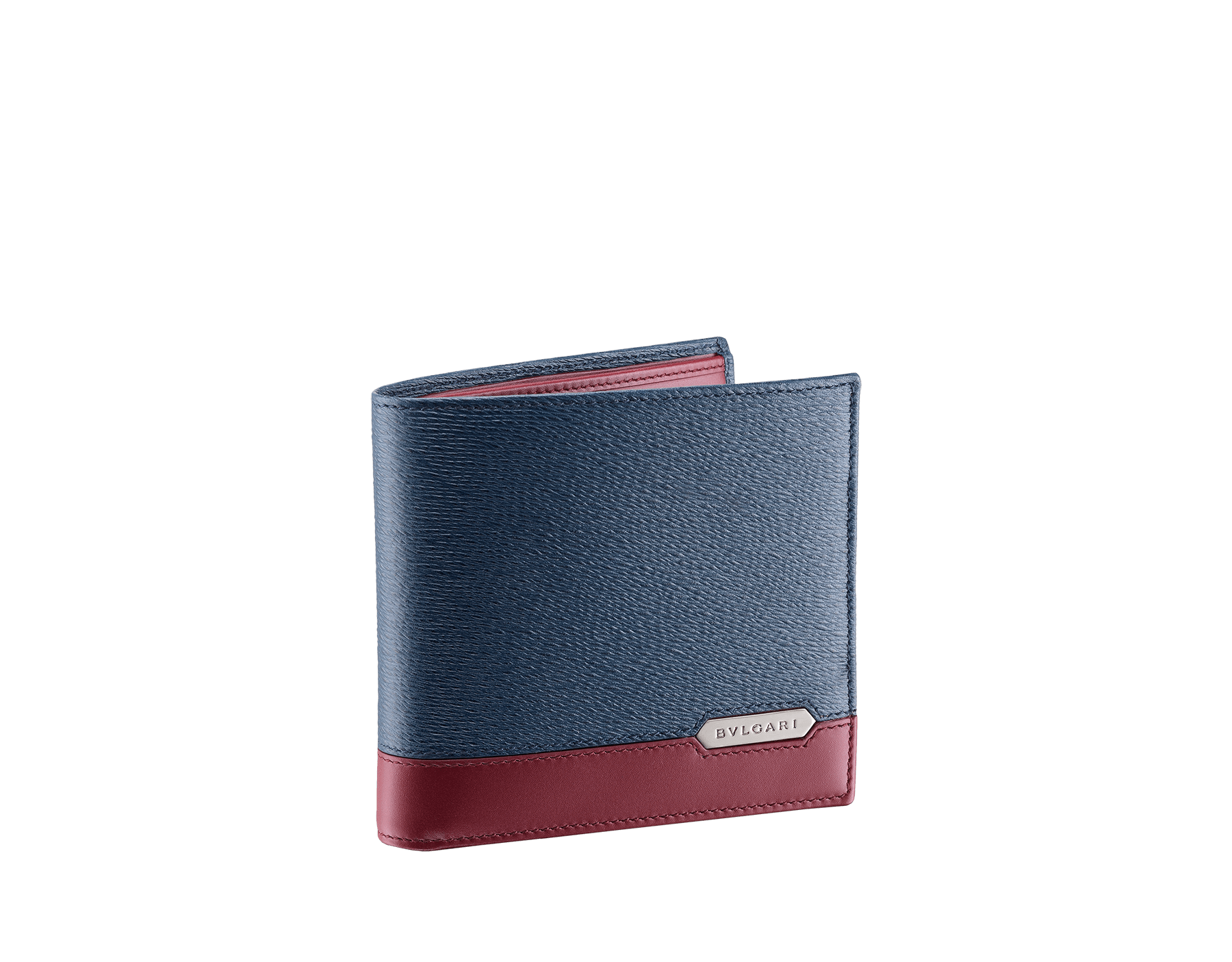 Serpenti Scaglie men's wallet in denim sapphire grazed calf leather and roman garnet calf leather. Bvlgari logo engraved on the hexagonal scaglie metal plate finished in dark ruthenium. 288457 image 1