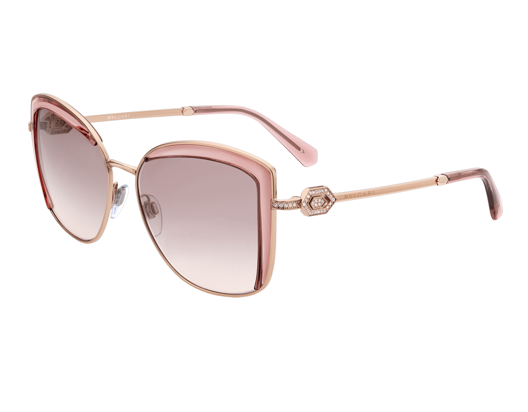 Bulgari Serpenti squared metal sunglasses with Serpenti openwork metal décor with crystals. 903905 image 1