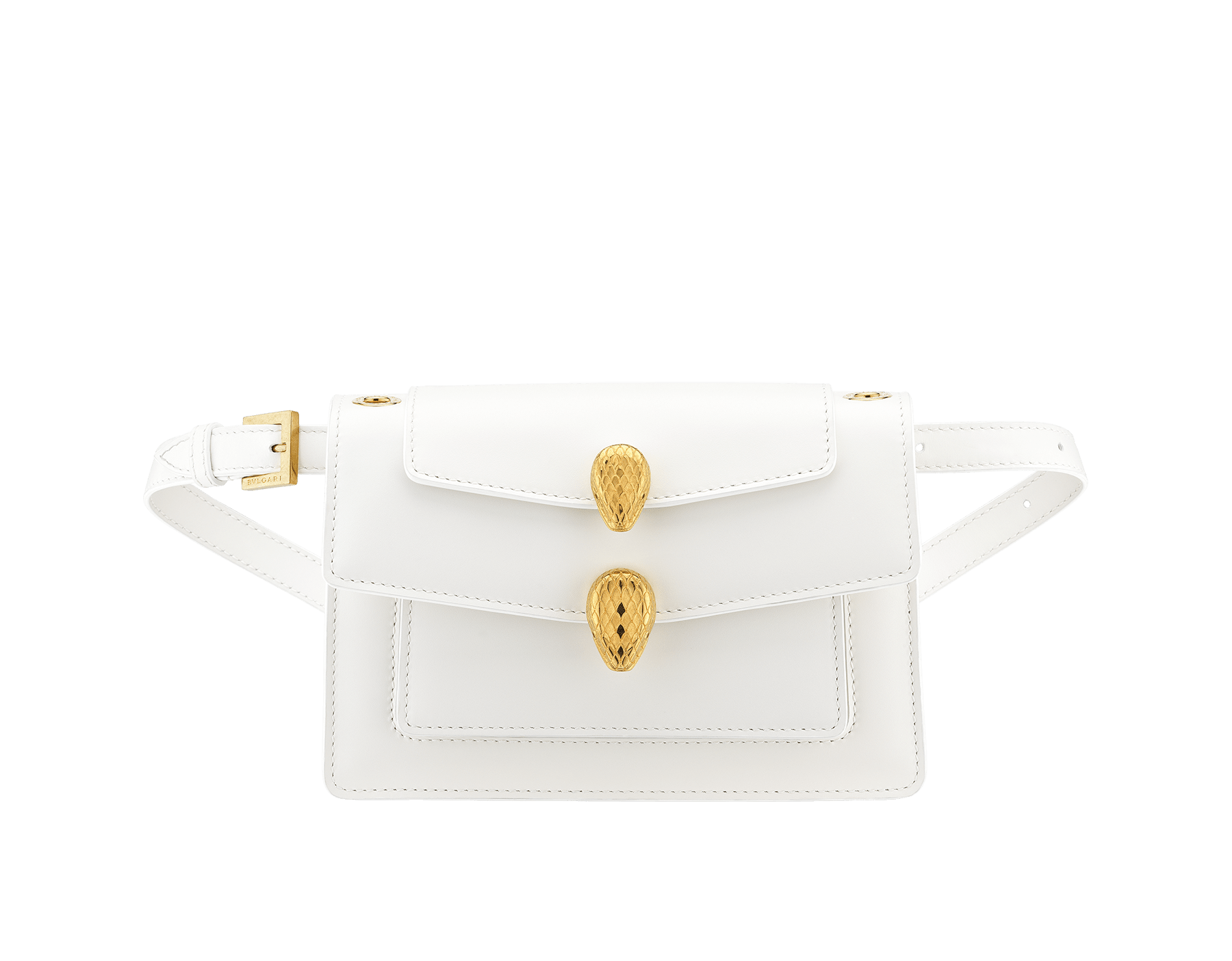 """Alexander Wang x Bvlgari"" belt bag in smooth peach calf leather. New double Serpenti head closure in antique gold-plated brass with tempting red enamel eyes. SFW-001-1029S image 4"