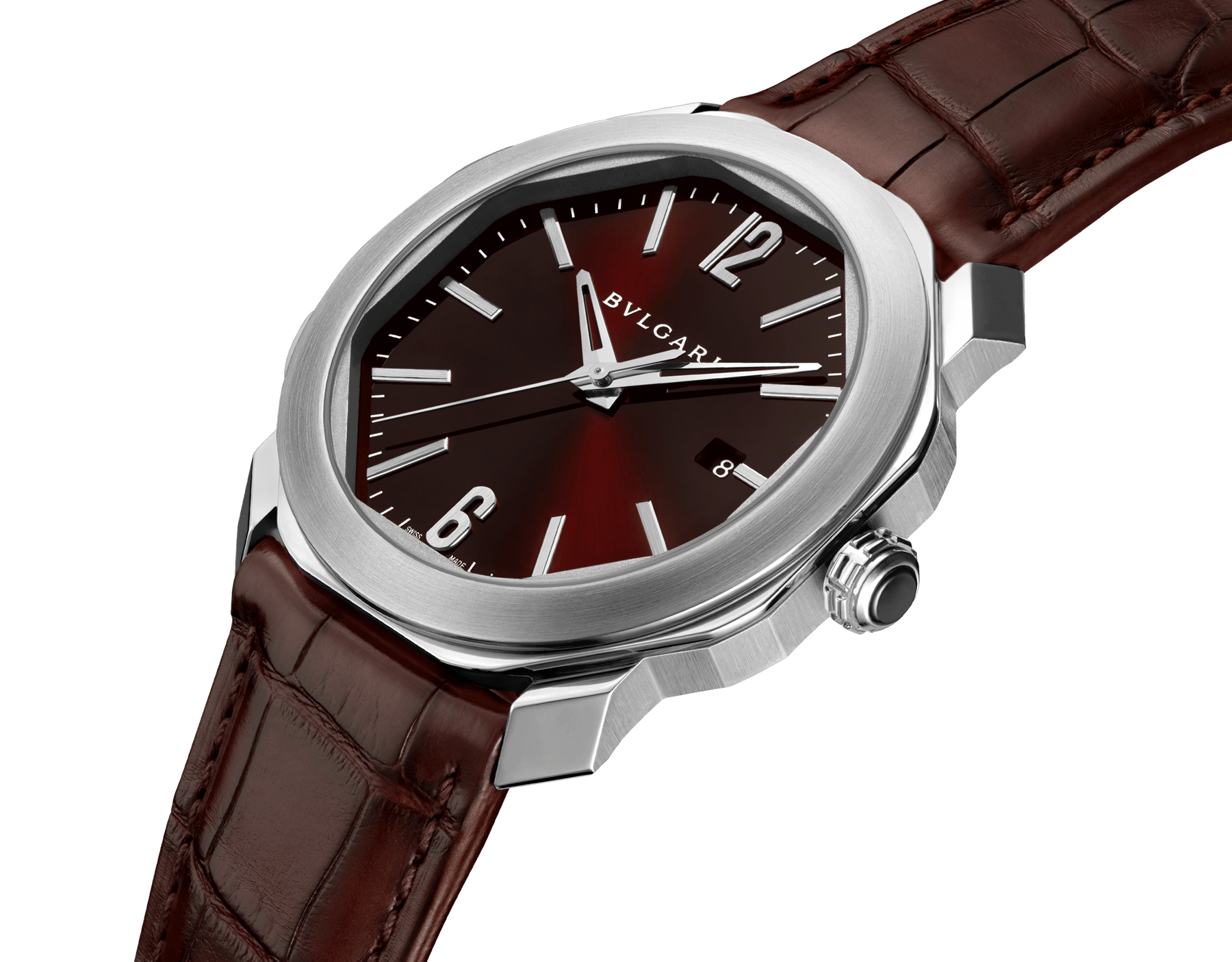 Octo Roma watch with mechanical manufacture movement, automatic winding, stainless steel case, dark brown lacquered dial and brown alligator bracelet. 102705 image 2