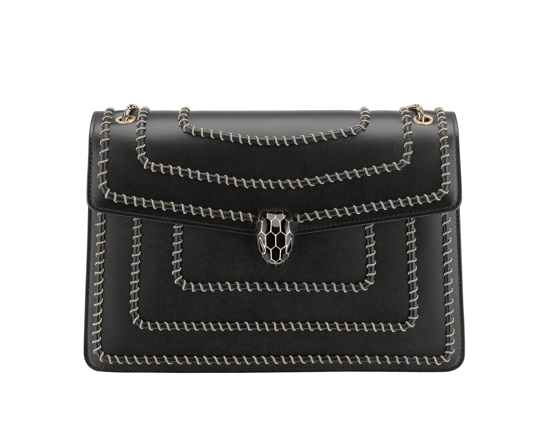 """Serpenti Forever"" shoulder bag in black calf leather, featuring a Woven Chain motif. Iconic snakehead closure in light gold plated brass enriched with black enamel and black onyx eyes 521-WC image 1"