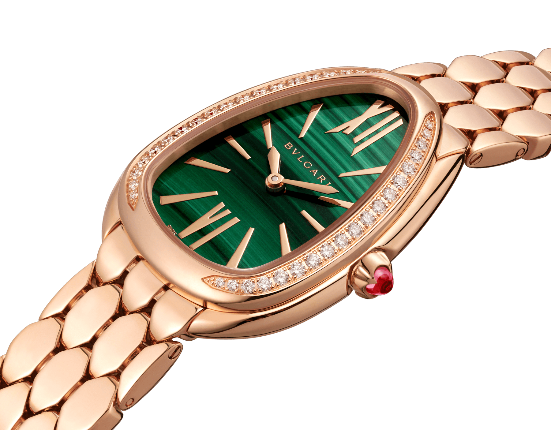 Serpenti Seduttori watch with 18 kt rose gold case and bracelet, 18 kt rose gold bezel set with diamonds and malachite dial 103273 image 2