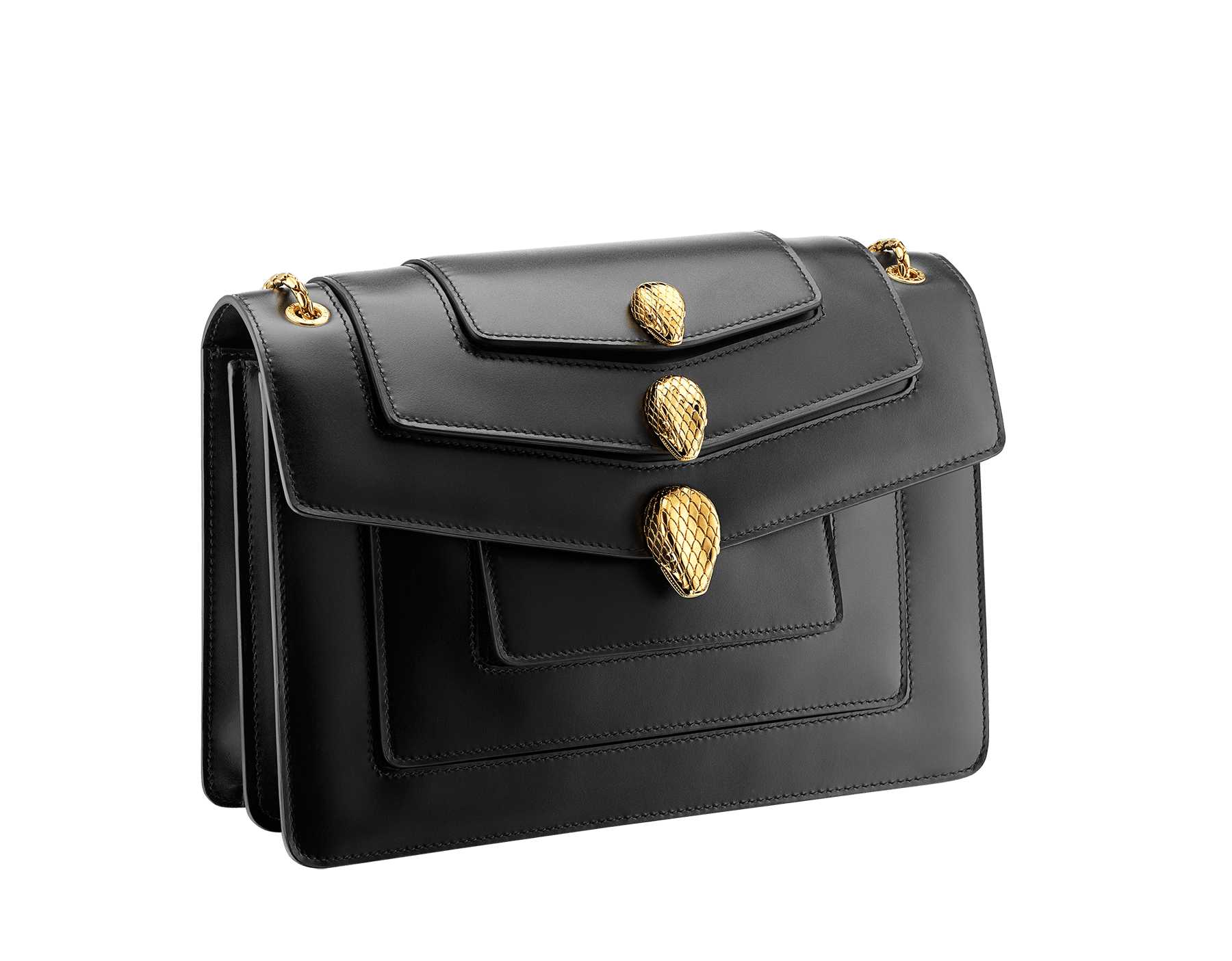 Alexander Wang x Bvlgari Triplette shoulder bag in smooth black calf leather. New triple Serpenti head closure in antique gold plated brass with tempting red enamel eyes. Limited edition. SFW-001-1003M image 2