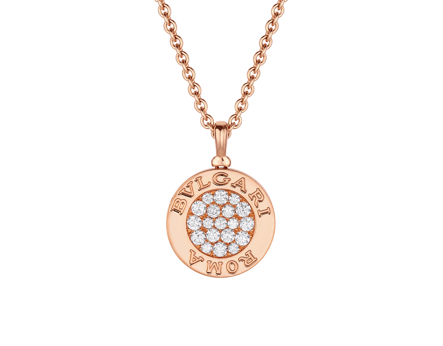 BVLGARI BVLGARI 18 kt rose gold chain and 18 kt rose gold pendant set with mother-of-pearl insert and pavé diamonds (0.34 ct) 358375 image 1