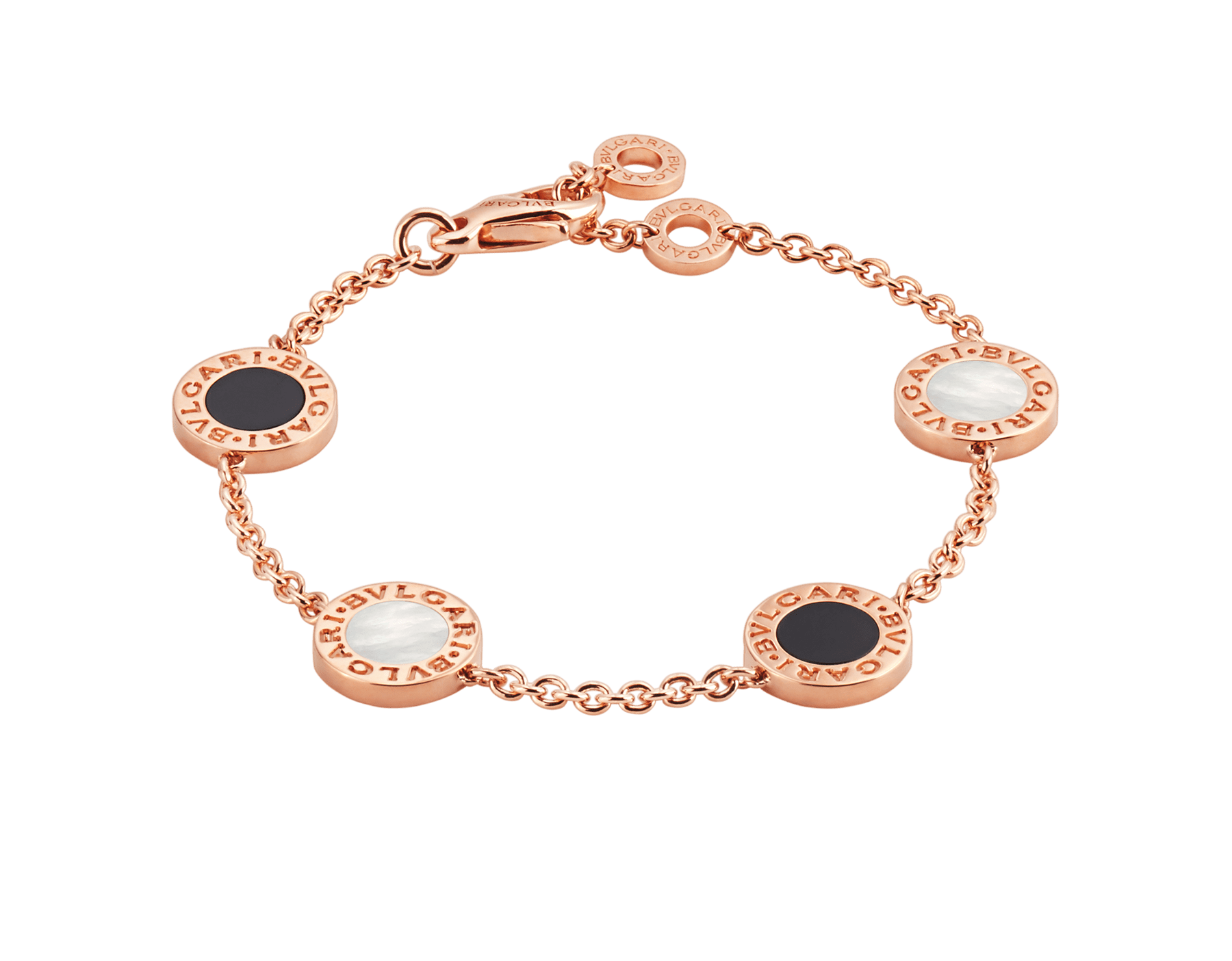BVLGARI BVLGARI bracelet in 18 kt rose gold set with mother-of-pearl and onyx elements BR857243 image 1