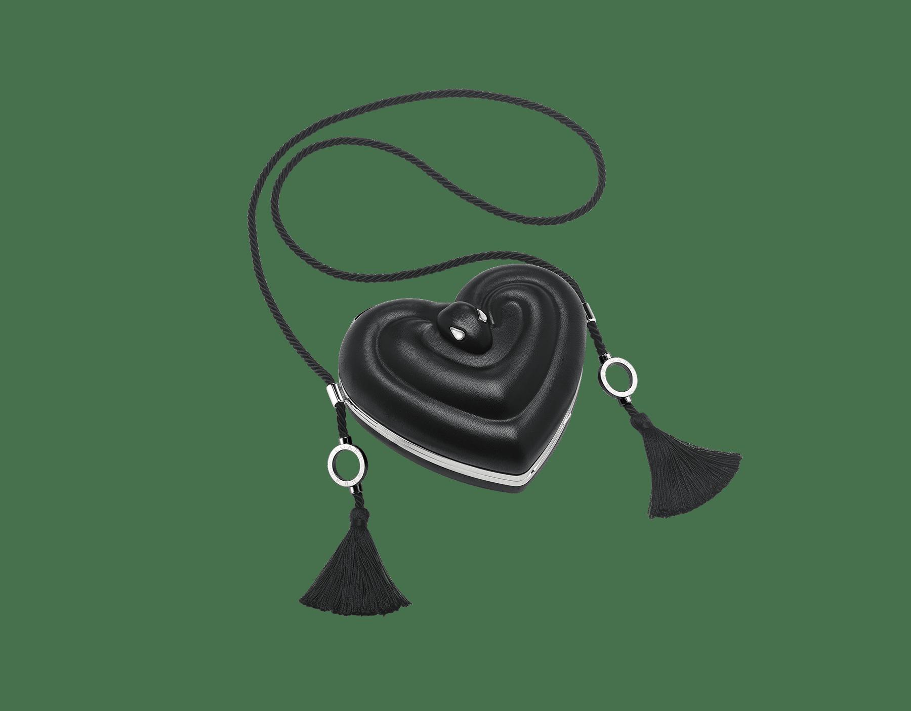 Minaudière Ambush x Bvlgari en aluminium avec une doublure en cuir nappa noir et des détails en laiton. Nouveau fermoir emblématique Serpenti avec yeux en onyx au charme envoûtant. Édition limitée. YA-MINAUDIERE image 1