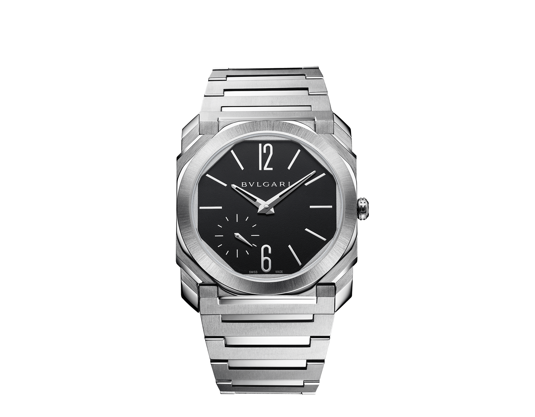 Octo Finissimo Automatic watch with mechanical manufacture movement, automatic winding, platinum microrotor, small seconds, extra-thin satin-polished stainless steel case and bracelet, transparent case back and black matte dial. Water-resistant up to 100 metres 103297 image 1