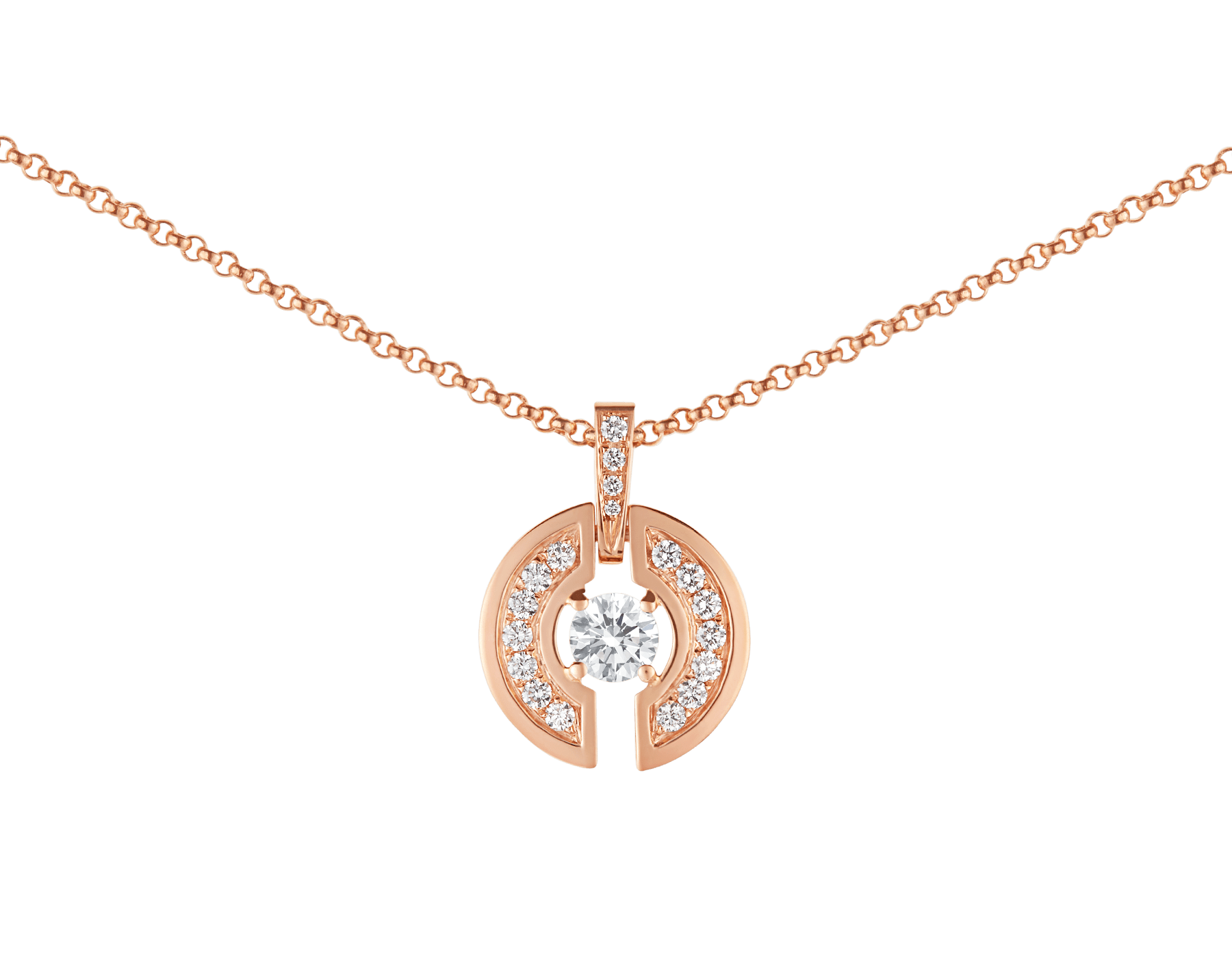 Parentesi necklace with 18 kt rose gold chain and pendant, set with a central diamond and pavé diamonds. 354606 image 3