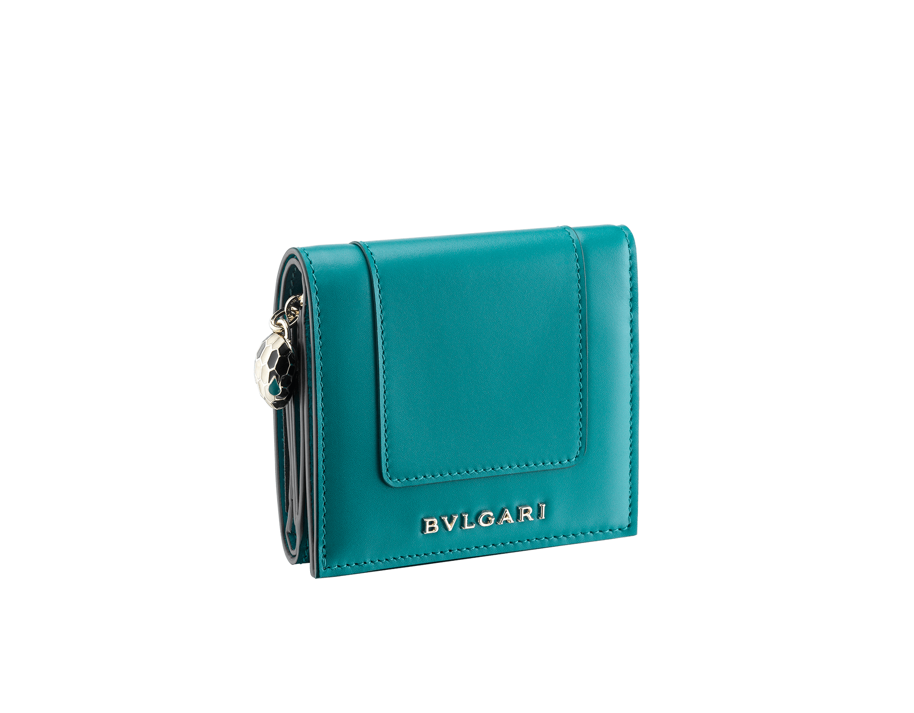 Serpenti Forever super compact wallet in deep jade and tropical turquoise calf leather. Iconic snakehead stud closure in black and white enamel with green malachite enamel eyes. 288034 image 1