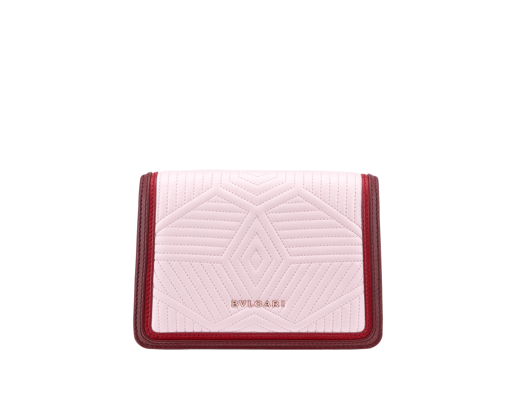 """Serpenti Diamond Blast"" crossbody micro bag in rosa di francia quilted nappa leather body and Roman garnet calf leather frames. Iconic snakehead closure in light gold plated brass enriched with black and ruby red enamel and black onyx eyes. 288844 image 3"