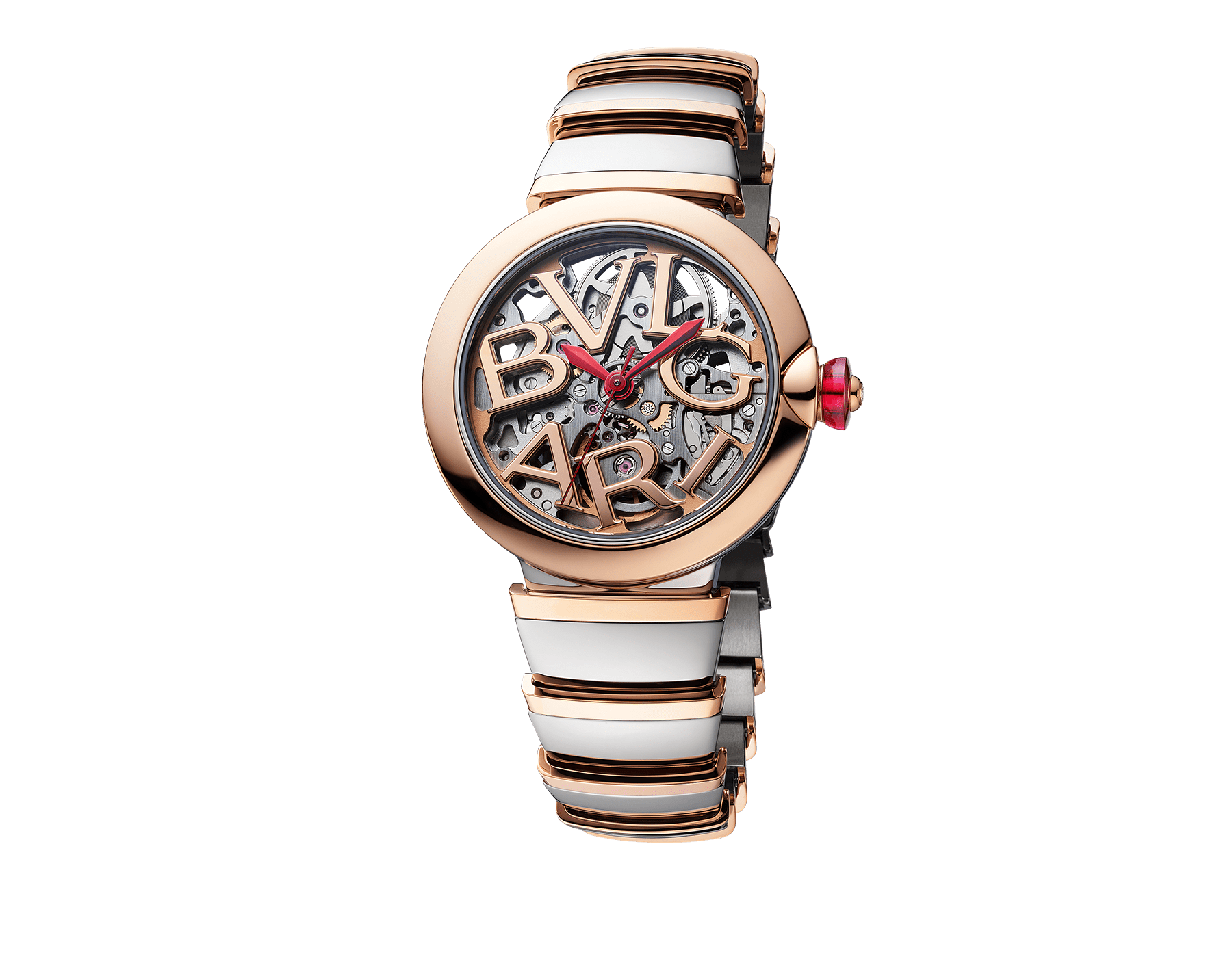 LVCEA Skeleton watch with mechanical manufacture movement, automatic winding, stainless steel and 18 kt rose gold case and bracelet, and openwork BVLGARI logo dial 102878 image 2