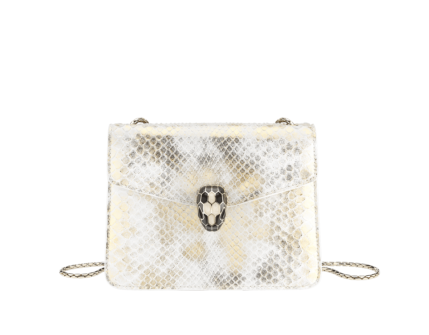 """Serpenti Forever"" crossbody bag in agate-white ""Camo"" python skin with Mimetic Jade green nappa leather inner lining. Alluring snakehead closure in light gold-plated brass enriched with black and pearly, agate-white enamel and black onyx eyes. 422-Pd image 1"