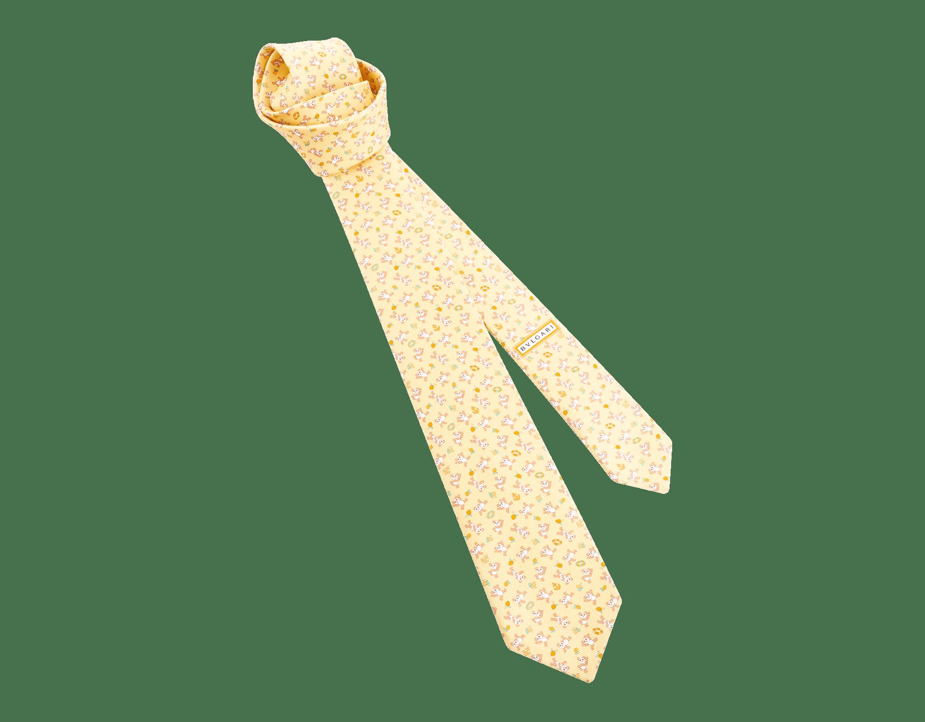 「Lemon Panda」柄があしらわれたイエローのセブンフォールドタイ。上質なサリオーネプリントシルク製。 244171 image 1