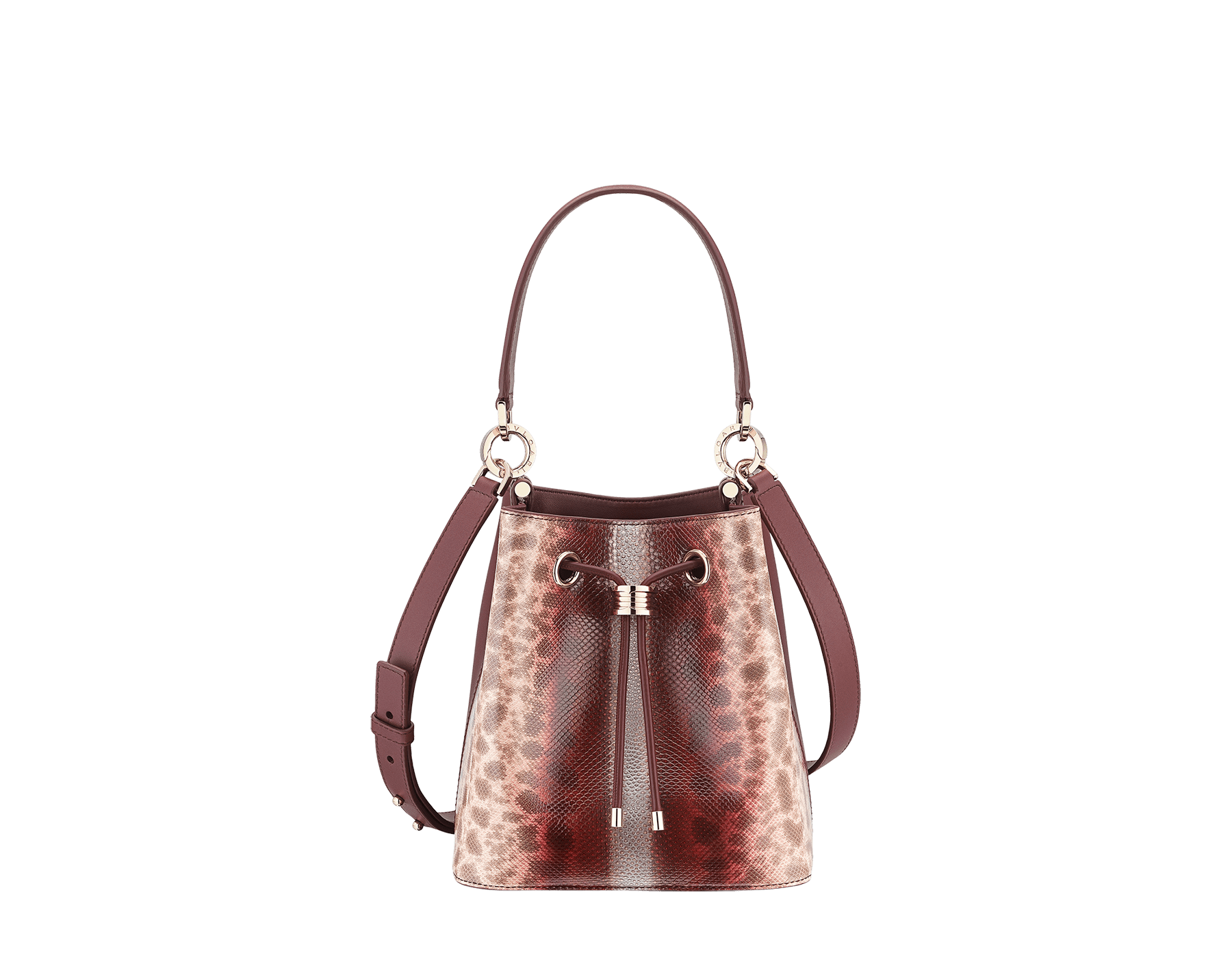 Bucket B.zero1 in rosa di francia Sahara karung skin and Roman garnet smooth calf leather with a Roman garnet nappa interior. Hardware in light gold plated brass, featuring B.zero1 décor. 289002 image 1