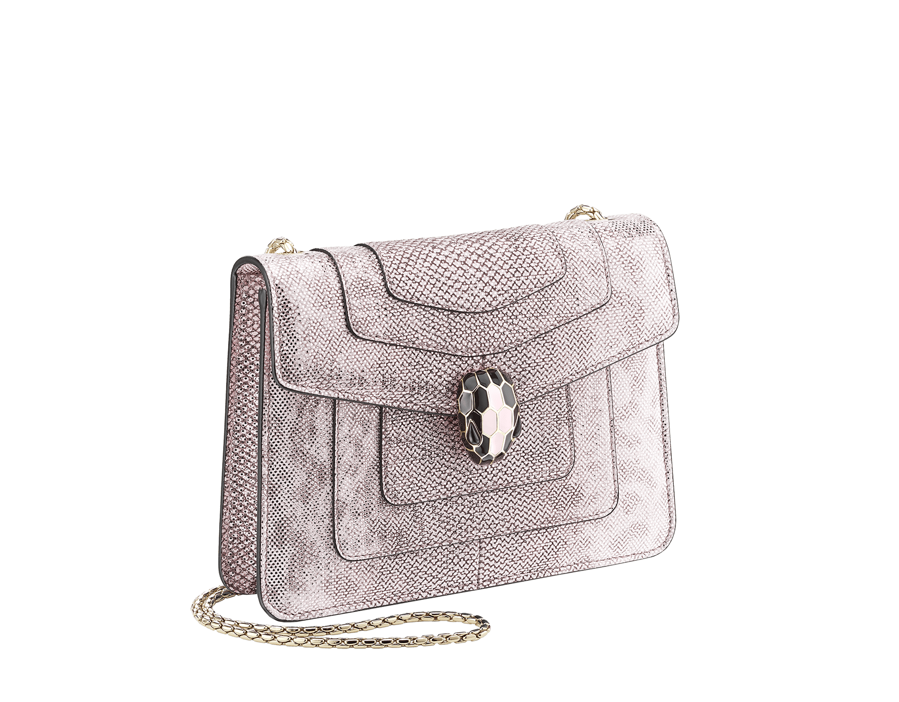 """Serpenti Forever"" crossbody bag in rosa di francia metallic karung skin. Iconic snakehead closure in light gold plated brass embellished with black and glitter rosa di francia enamel and black onyx eyes. 288781 image 2"