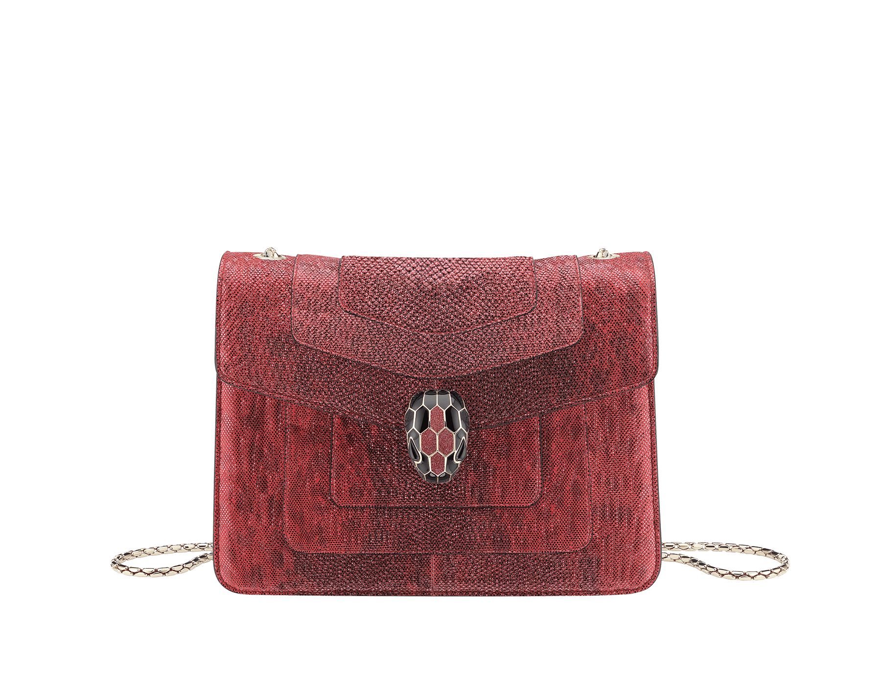 """Serpenti Forever "" crossbody bag in ruby red metallic karung skin. Iconic snakehead closure in light gold plated brass enriched with glitter red and shiny black enamel and black onyx eyes 422-MK image 1"