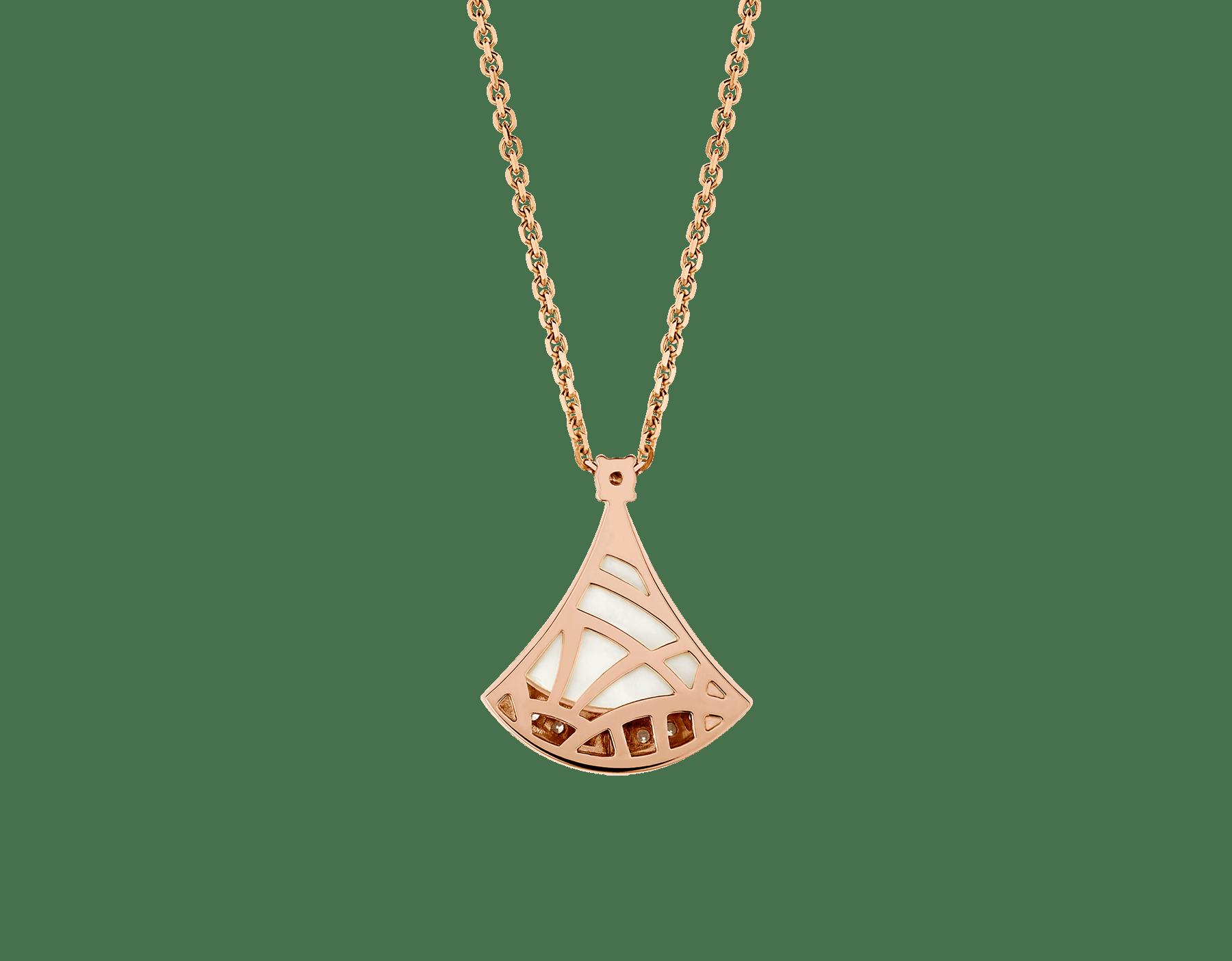 DIVAS' DREAM 18K 玫瑰金項鍊,鑲飾 1 顆鑽石(0.03 克拉)、珍珠母貝和密鑲鑽石(0.10 克拉)。 358365 image 4